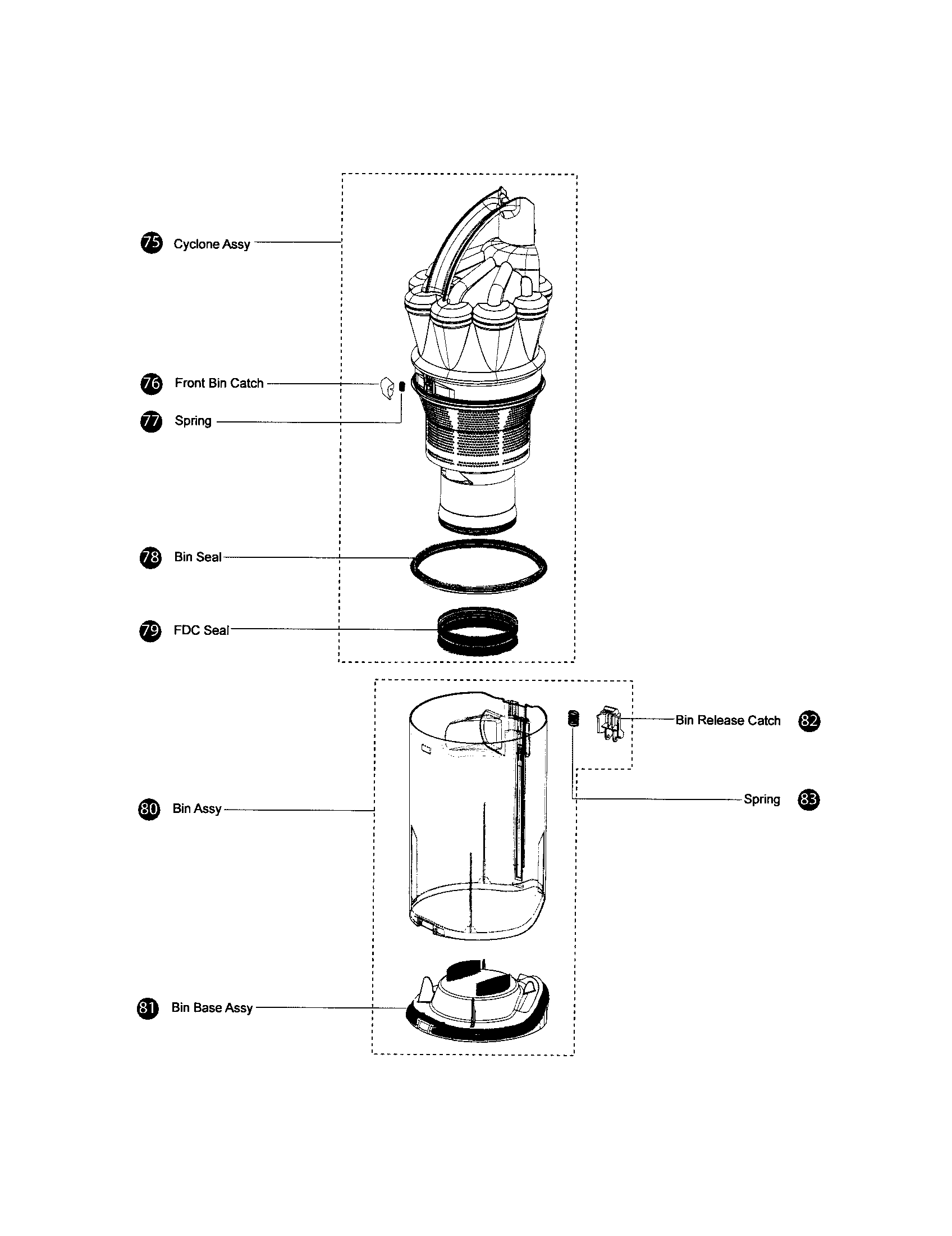 CYCLONE/BIN Diagram & Parts List for Model dc17 Dyson-Inc