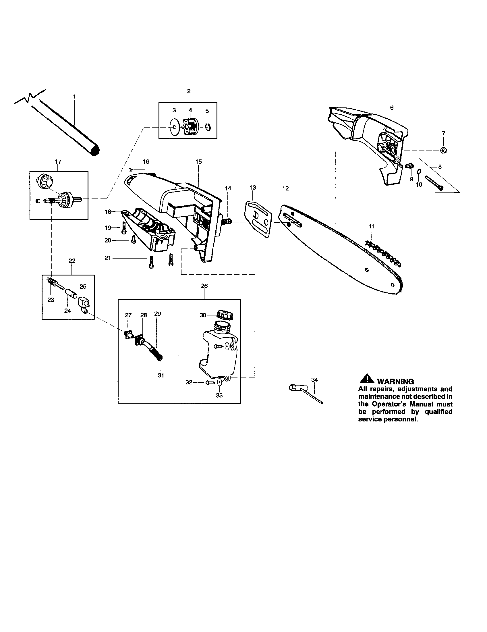 BAR/HOUSING/OIL TANK Diagram & Parts List for Model pp446
