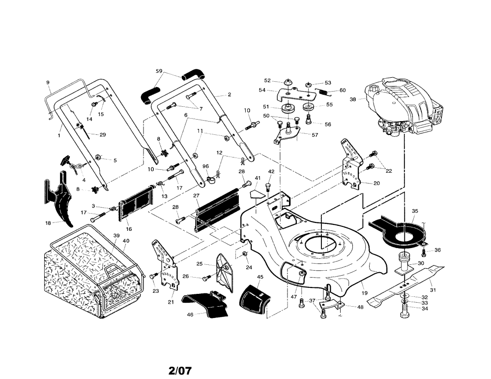medium resolution of husqvarna 917374450 handle engine housing grass bag diagram