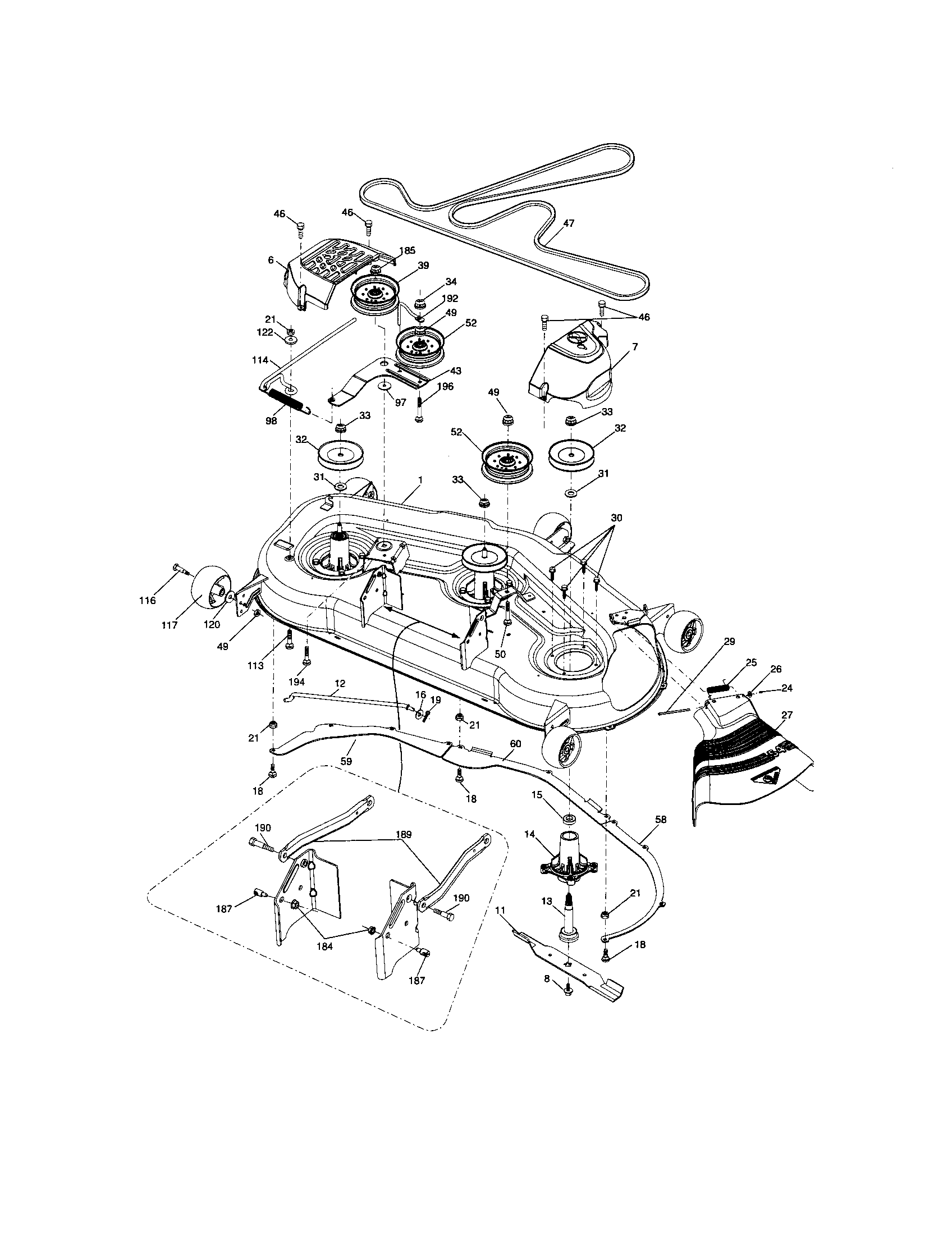 Chassis And Enclosures Diagram And Parts List For Craftsman Riding