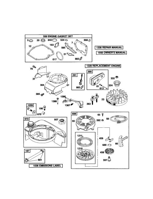 small resolution of briggs stratton 124t02 3847 b2 rewind starter blower housing diagram
