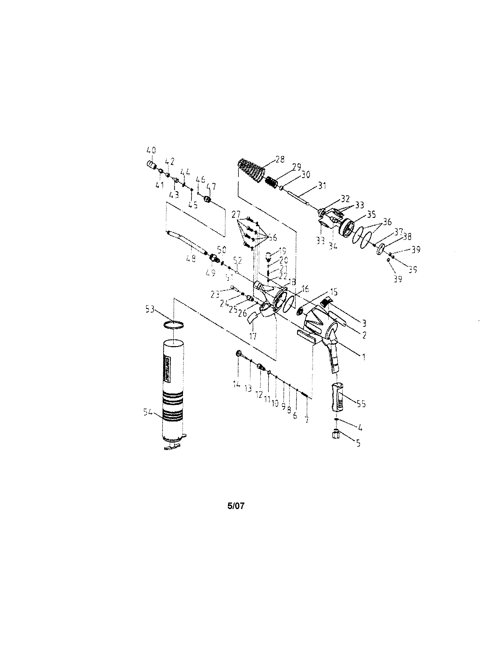 AIR GREASE GUN Diagram & Parts List for Model 875199590