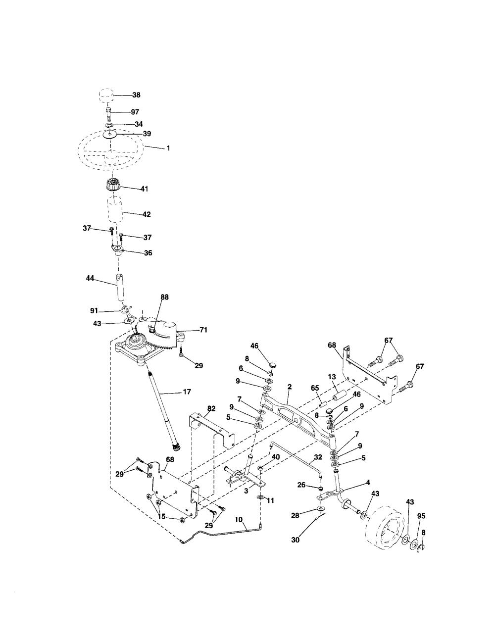 medium resolution of craftsman 917287050 steering assembly diagram