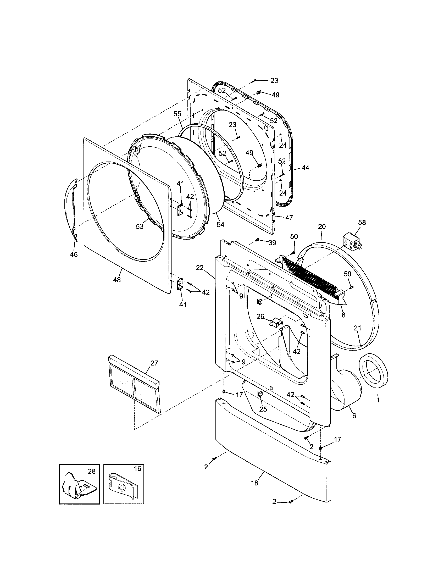 hight resolution of kenmore 41798052700 front panel lint filter diagram