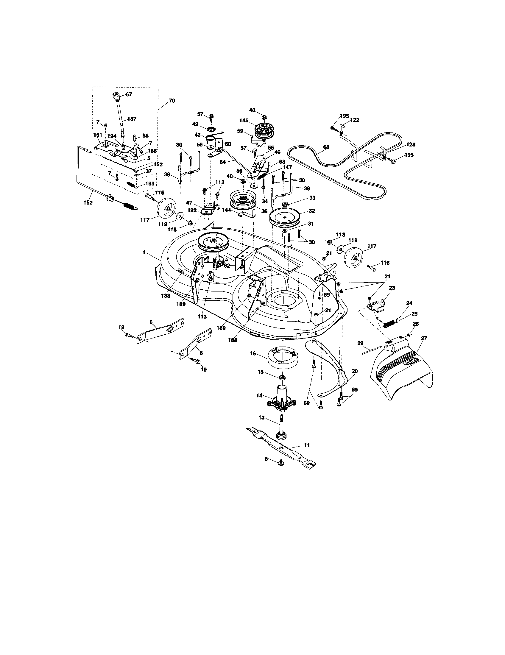 hight resolution of craftsman 917t287121 mower deck diagram