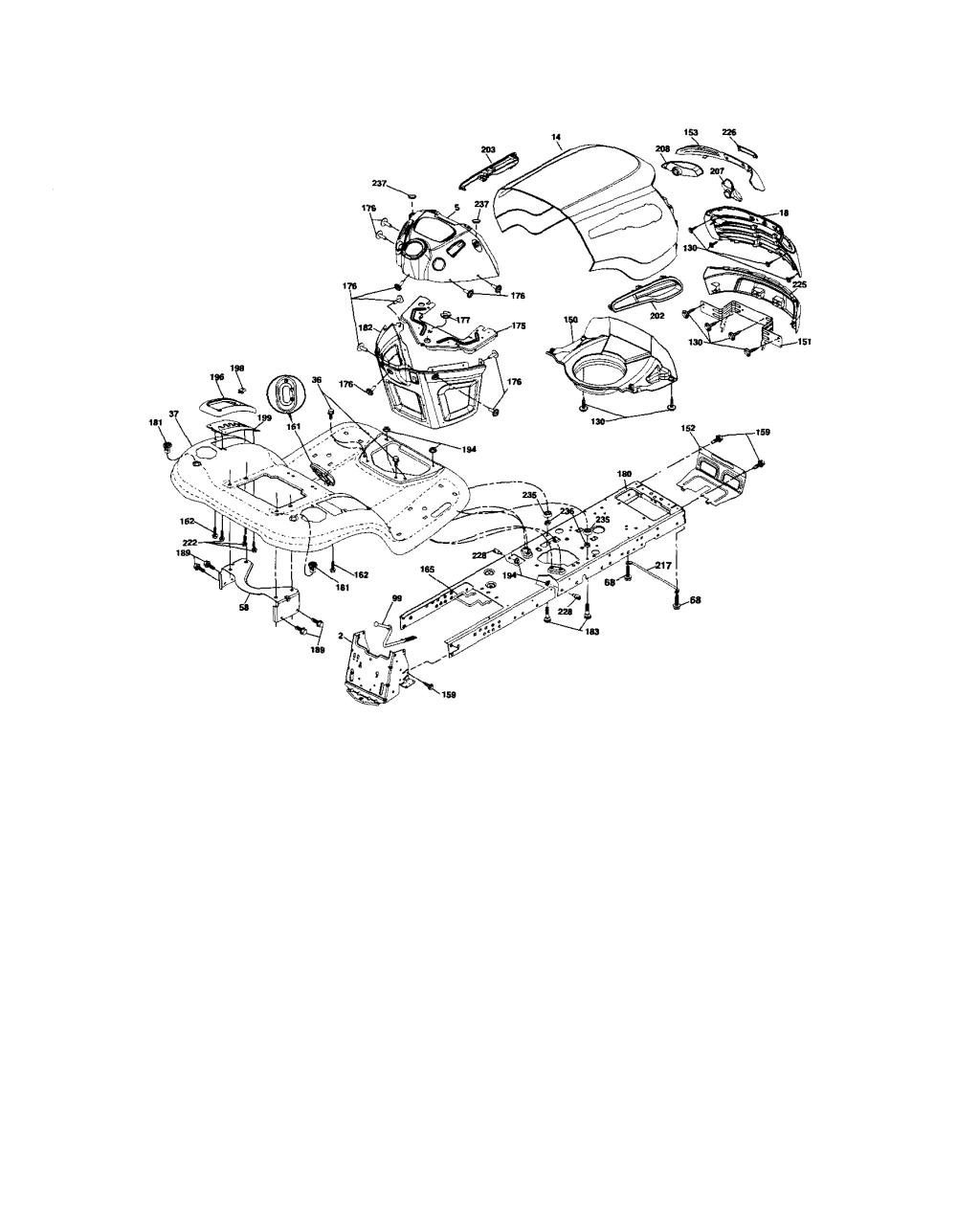 medium resolution of chassis craftsman model 917287480 lawn tractor genuine parts chassis 1999 ford f 150 4 6 triton engine diagram