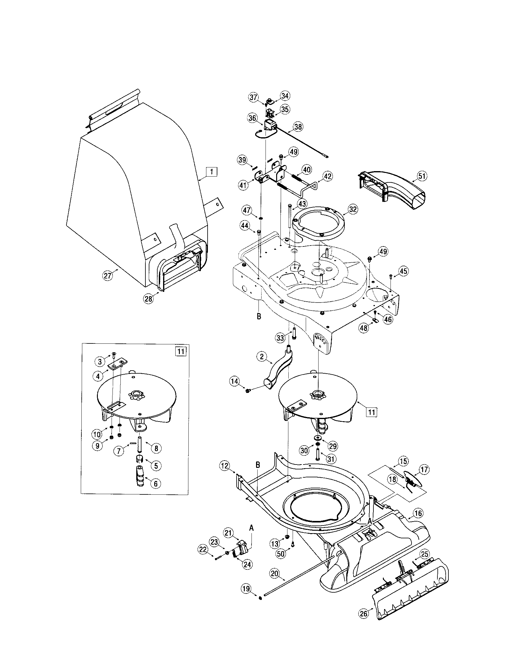 NOZZLE/IMPELLER/BAG Diagram & Parts List for Model