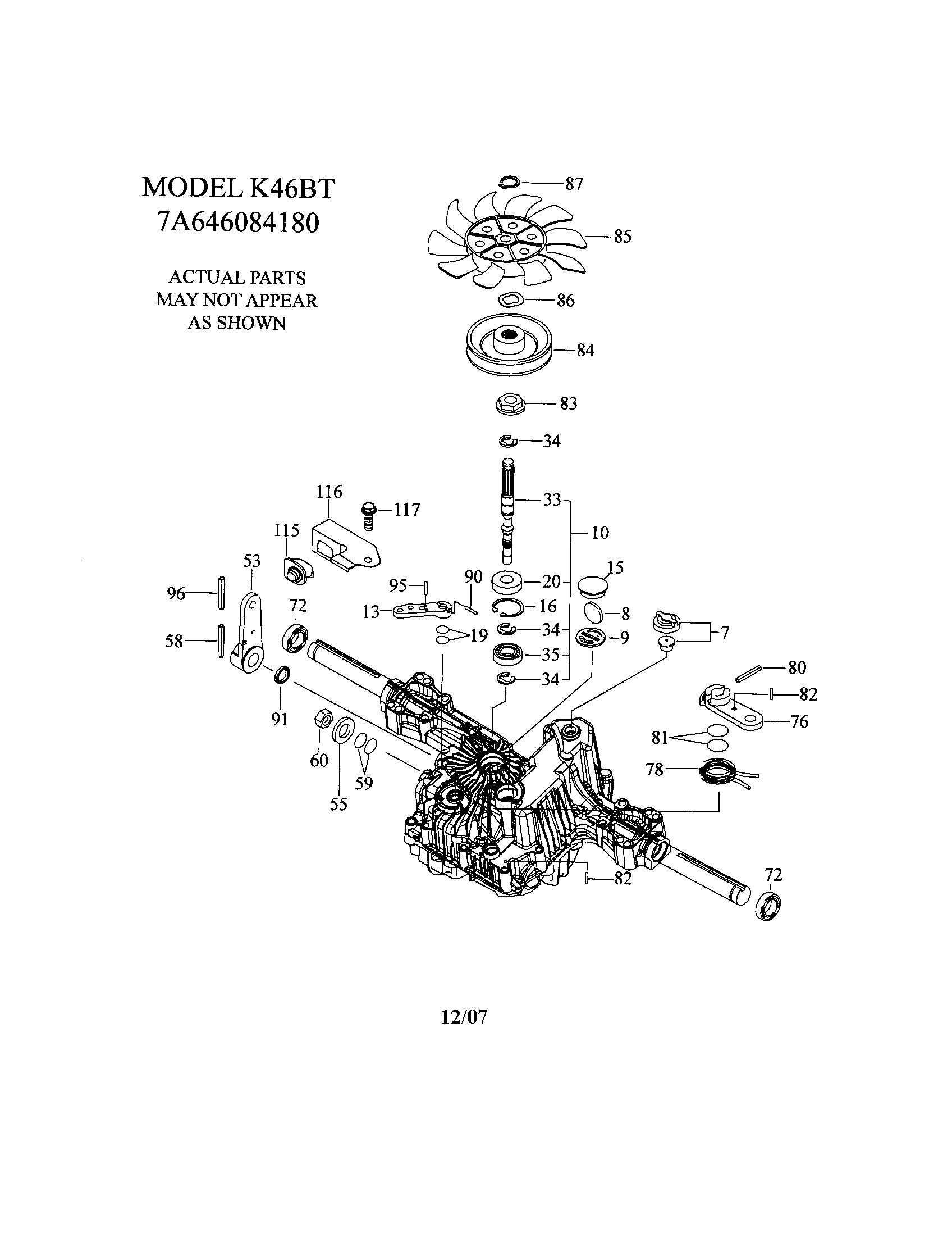 TRANSAXLE-K46BT Diagram & Parts List for Model YTH2348