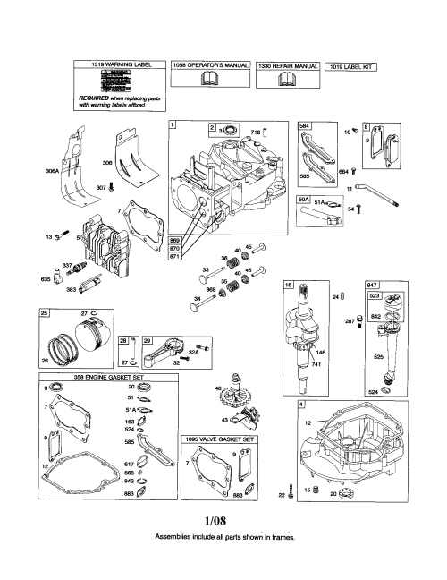 small resolution of briggs stratton 126t02 0675 b3 cylinder crankshaft sump diagram