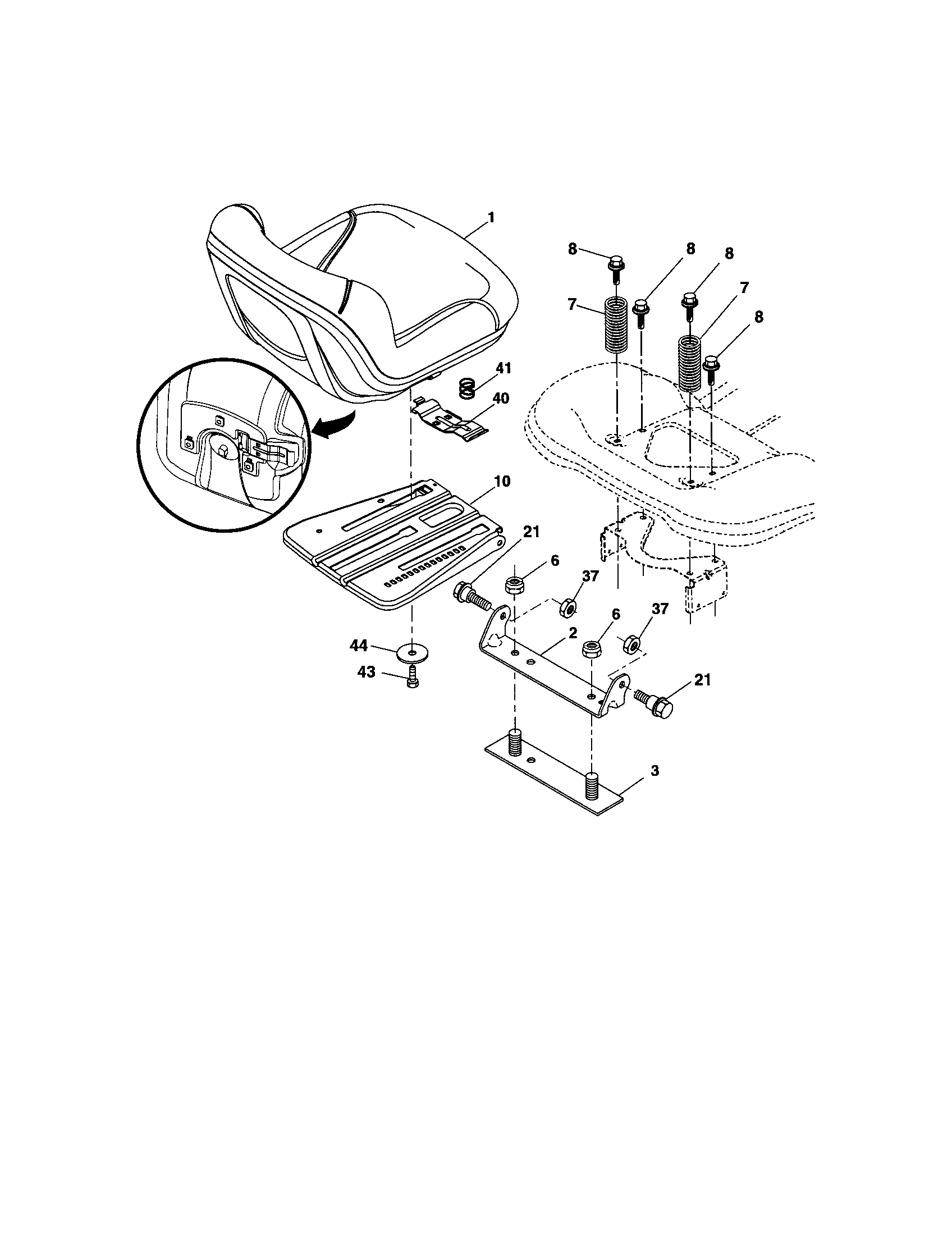 SEAT Diagram & Parts List for Model 917276906 Craftsman