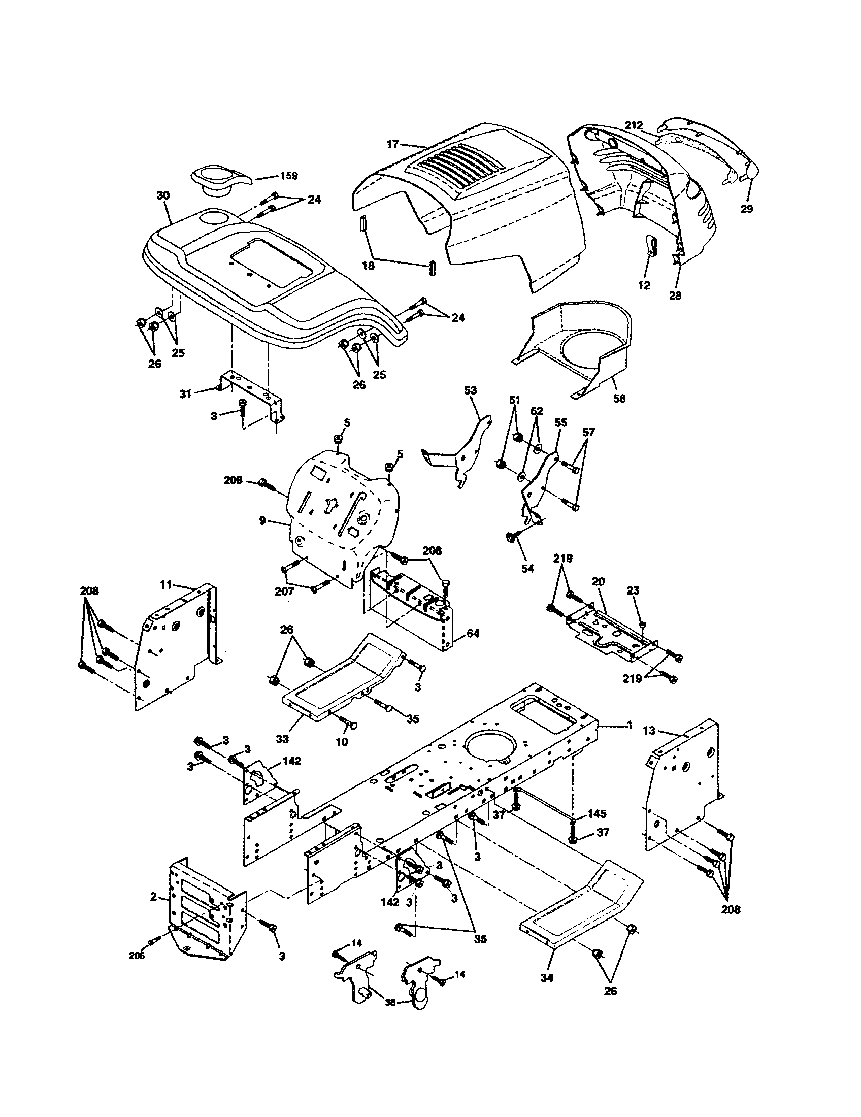 CHASSIS Diagram & Parts List for Model PPR20H42STC Poulan