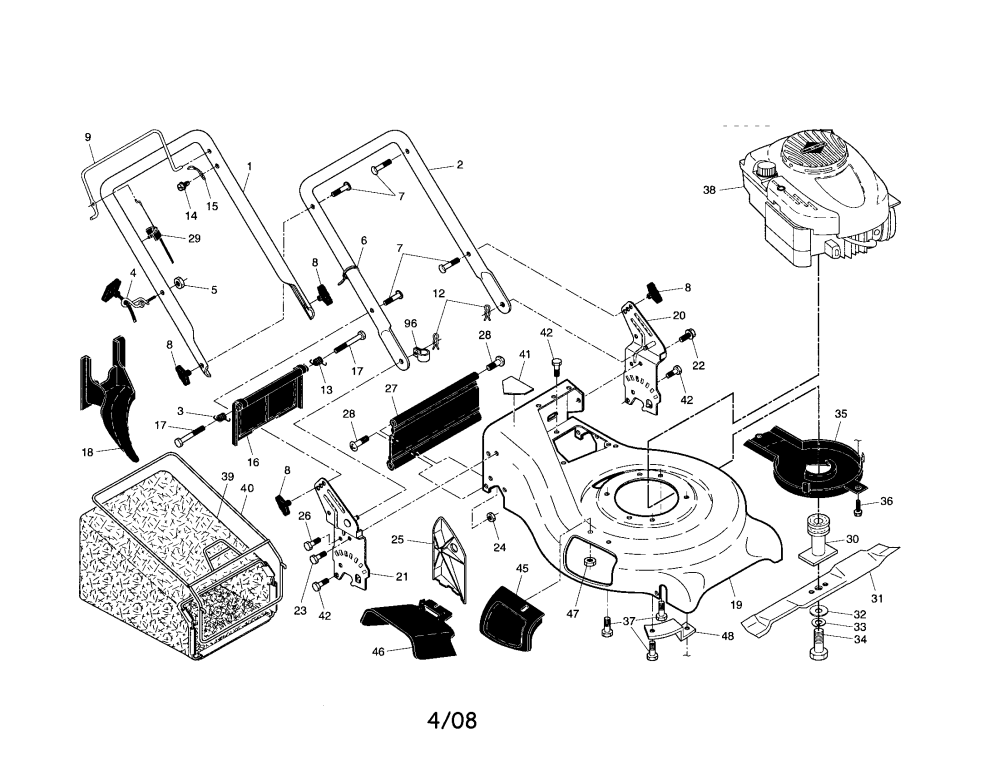 medium resolution of craftsman 917370750 engine housing handle diagram