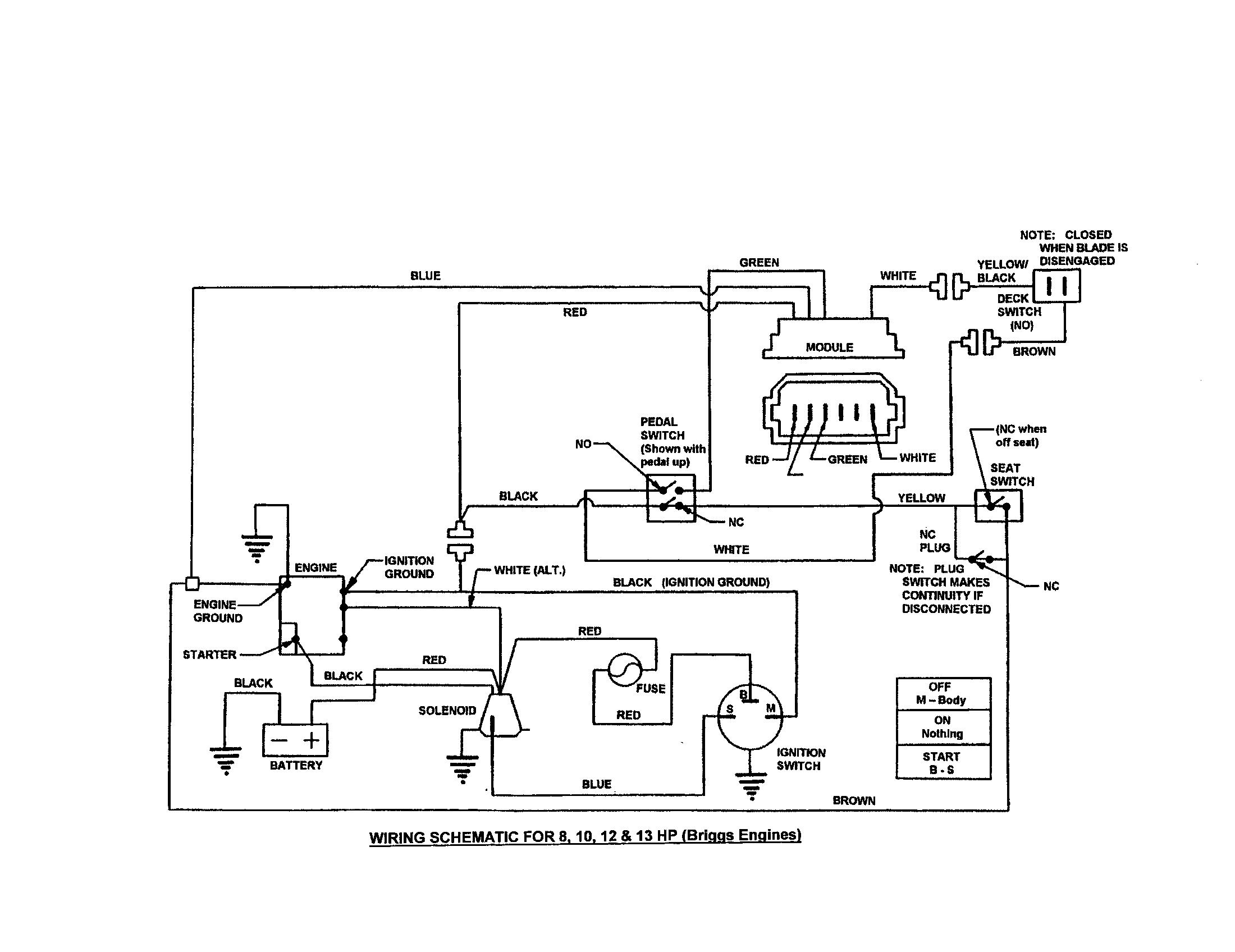 WIRING SCHEMATIC-8,10,12,13 HP Diagram & Parts List for