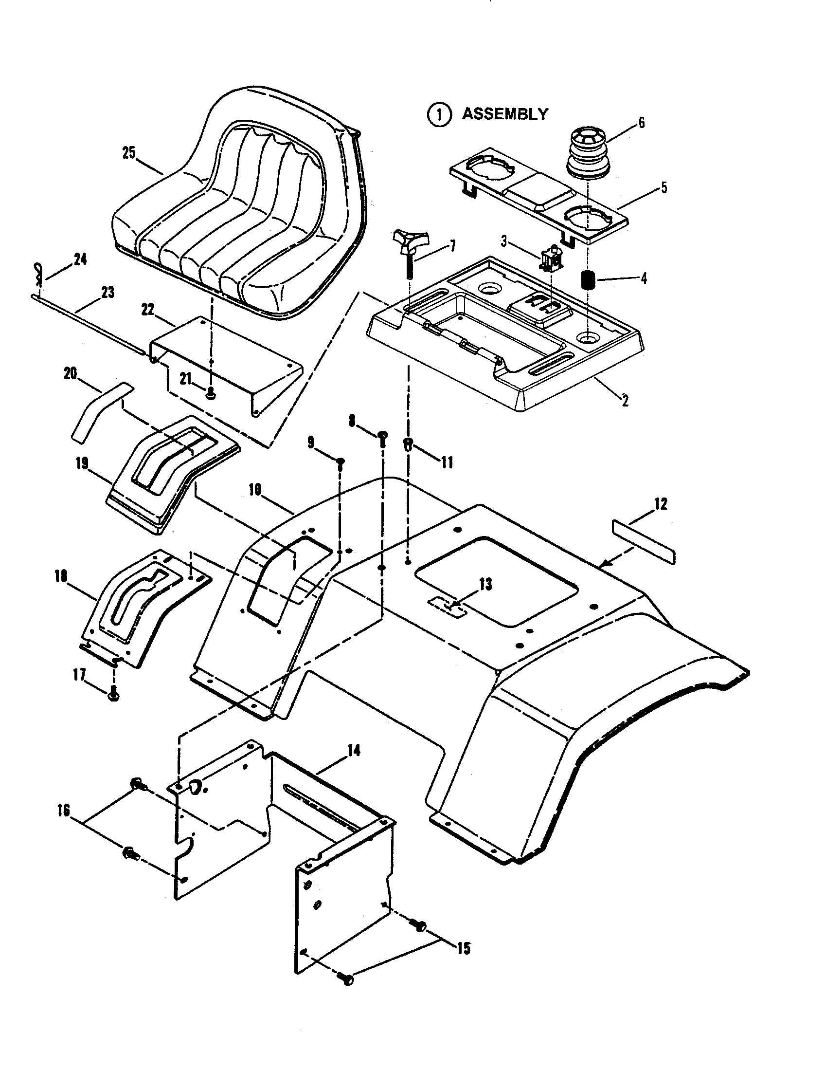 SEAT/REAR FENDER Diagram & Parts List for Model
