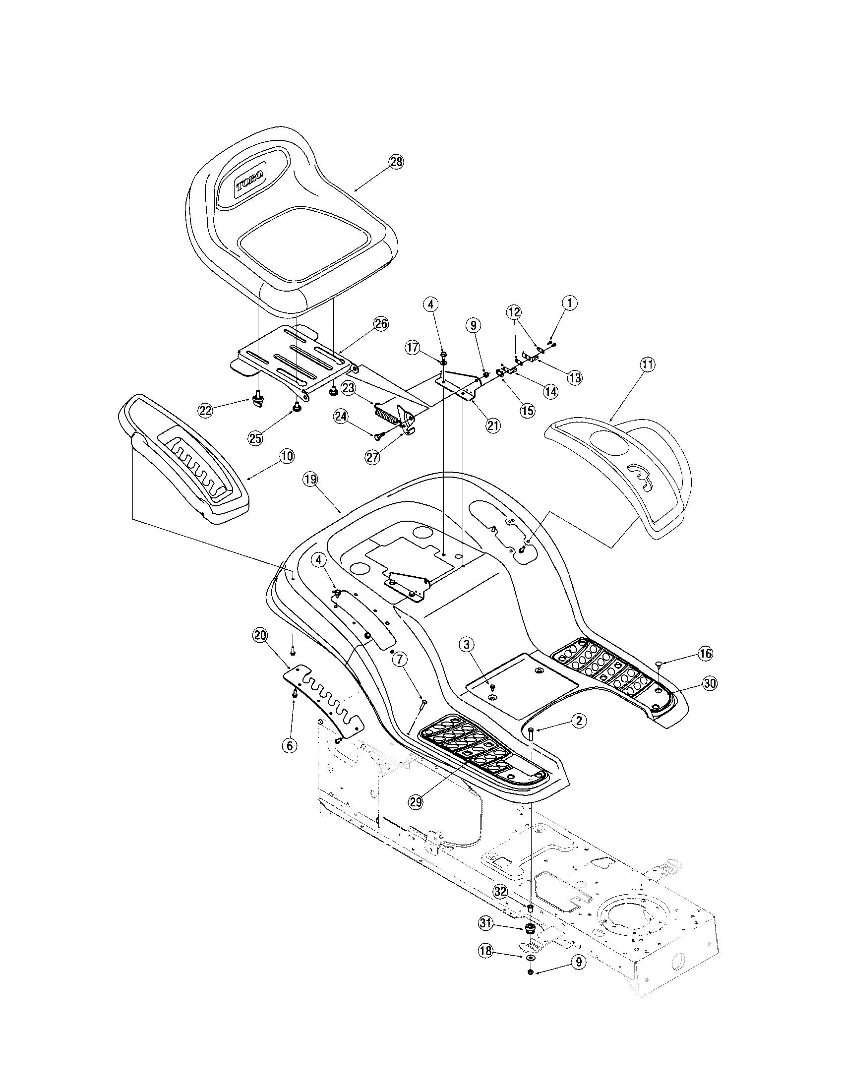 FENDER/SEAT Diagram & Parts List for Model 13AX60RG744