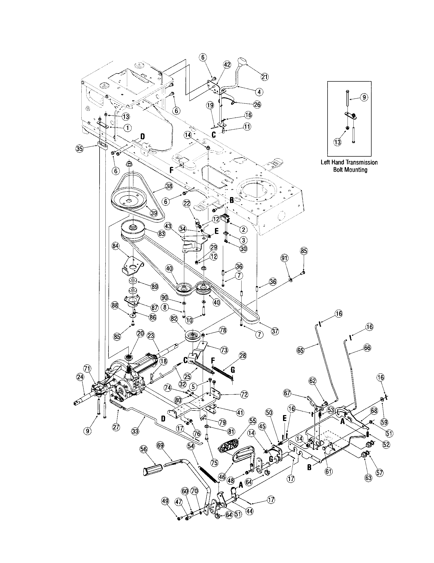 TRANSMISSION Diagram & Parts List for Model LX420 Toro