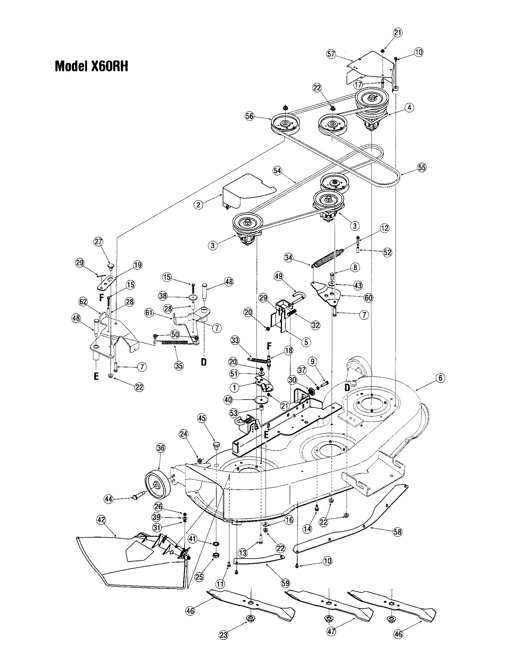 DECK-MODEL X60RH Diagram & Parts List for Model LX420 Toro