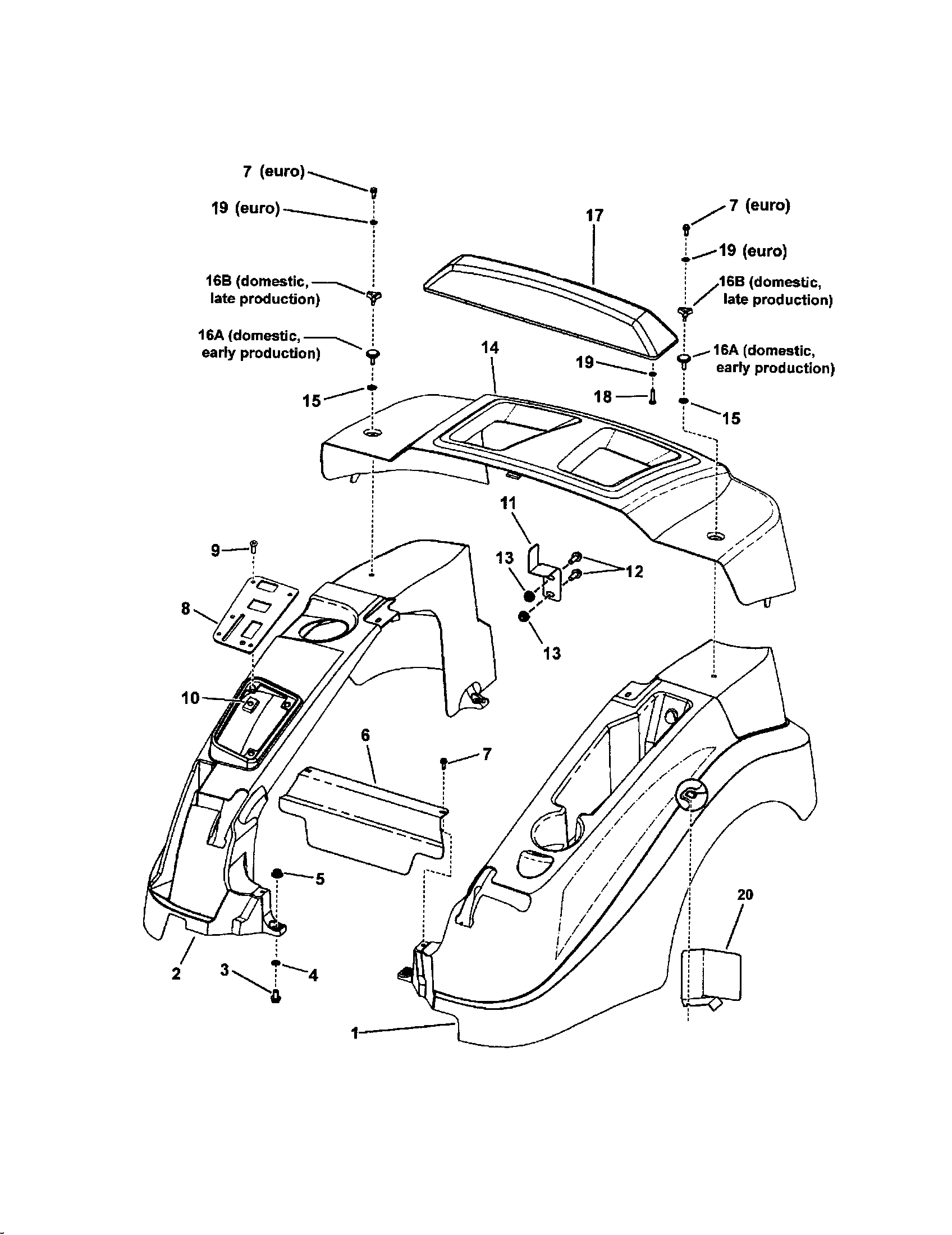SNAPPER FENDER Diagram & Parts List for Model