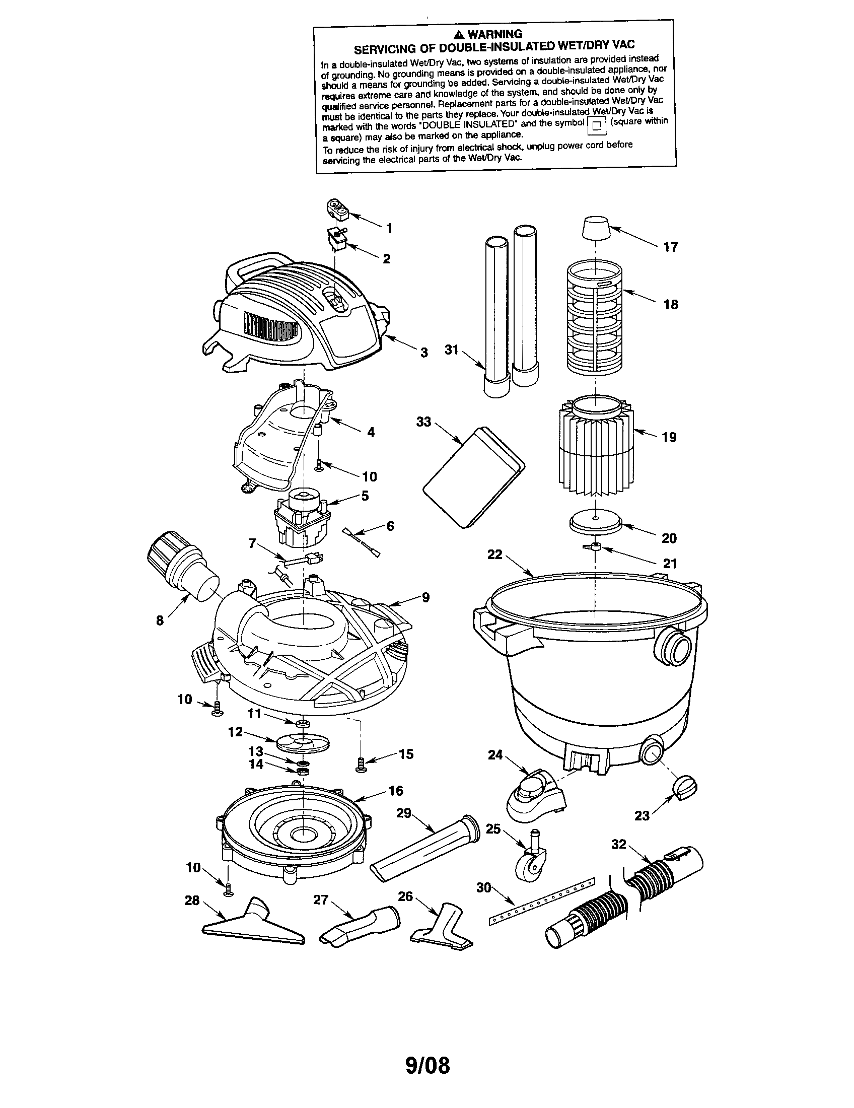 WET/DRY VAC Diagram & Parts List for Model 113177621