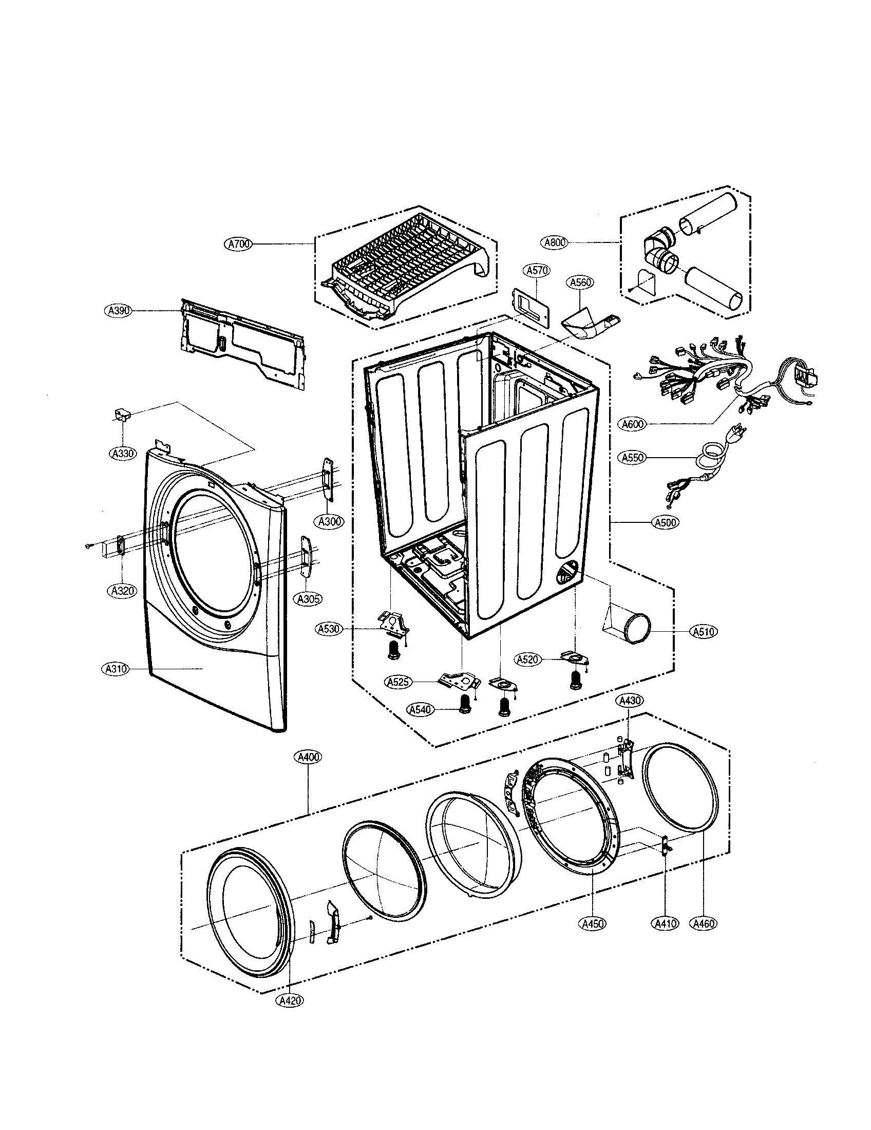 CABINET/DOOR Diagram & Parts List for Model dle2512w LG