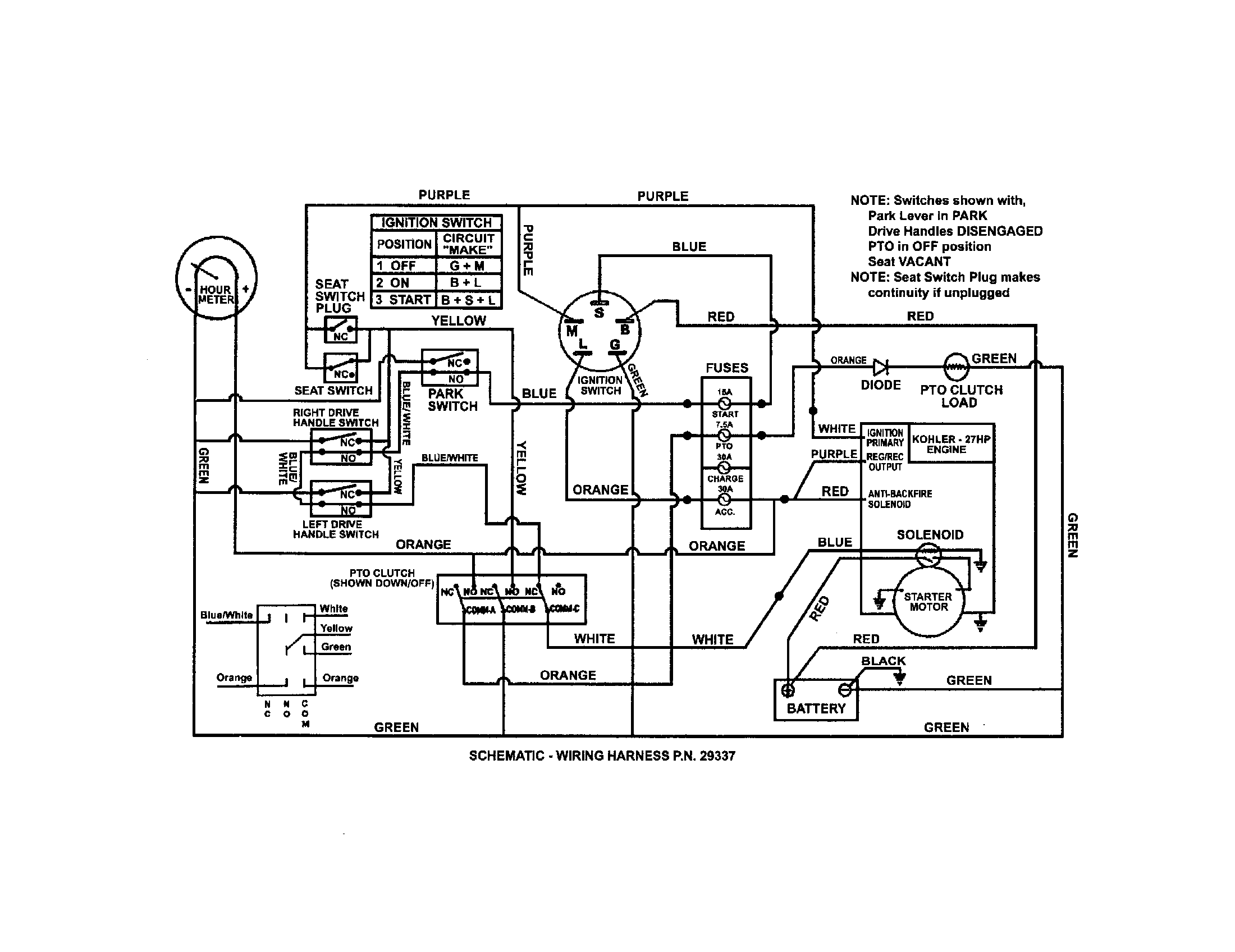 WIRING SCHEMATIC (KOHLER) Diagram & Parts List for Model