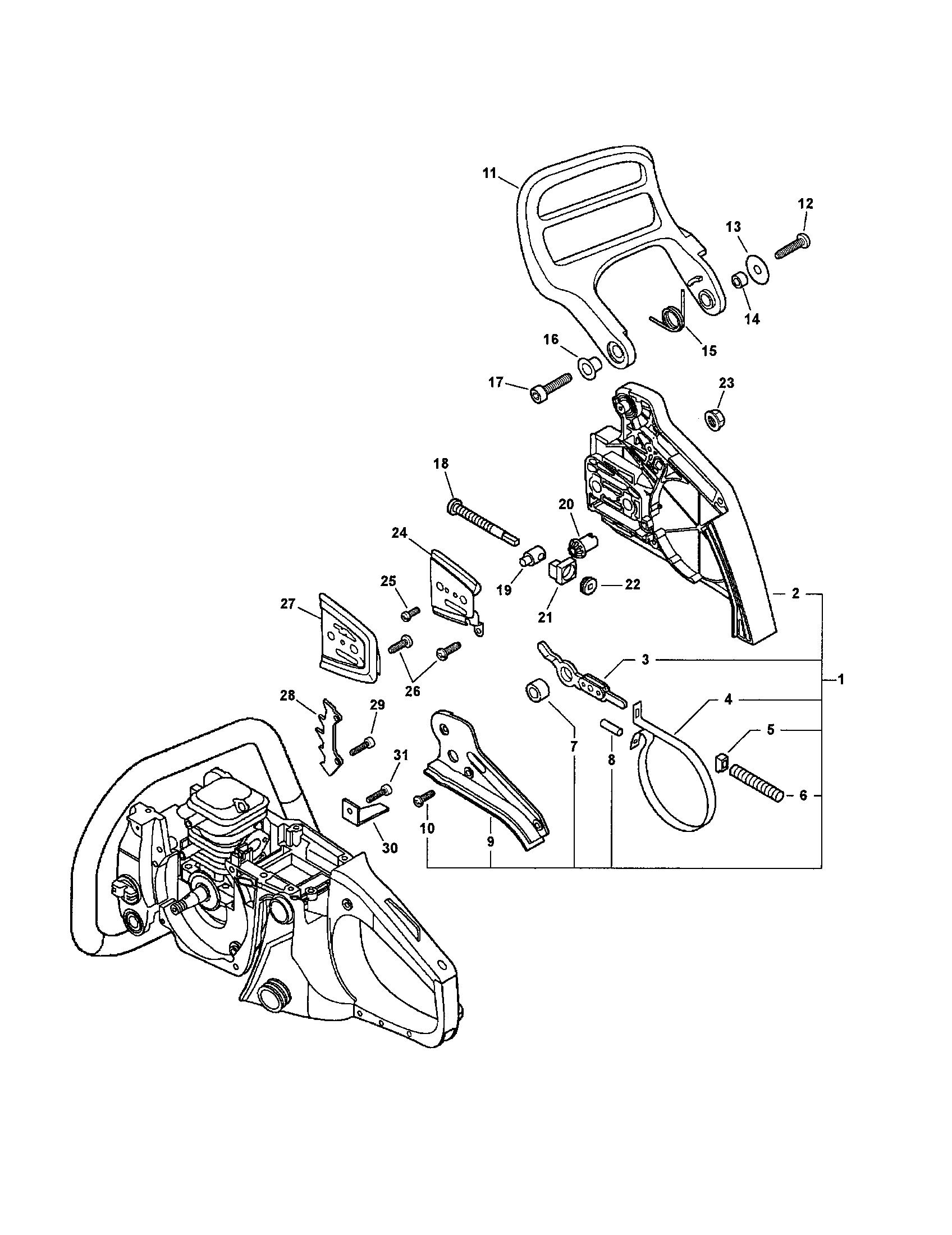 CHAIN BRAKE Diagram & Parts List for Model cs400 Echo