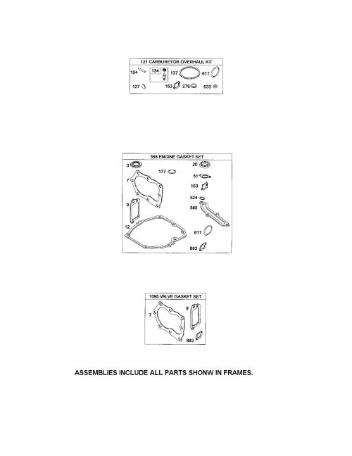 small resolution of briggs stratton 124t05 4947 b2 gasket sets diagram