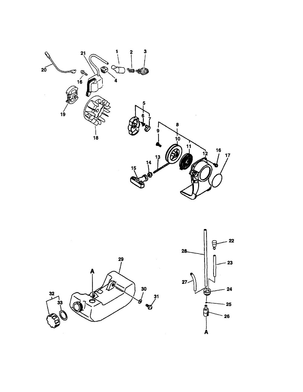 medium resolution of echo srm 2100sb starter ignition clutch fuel system diagram