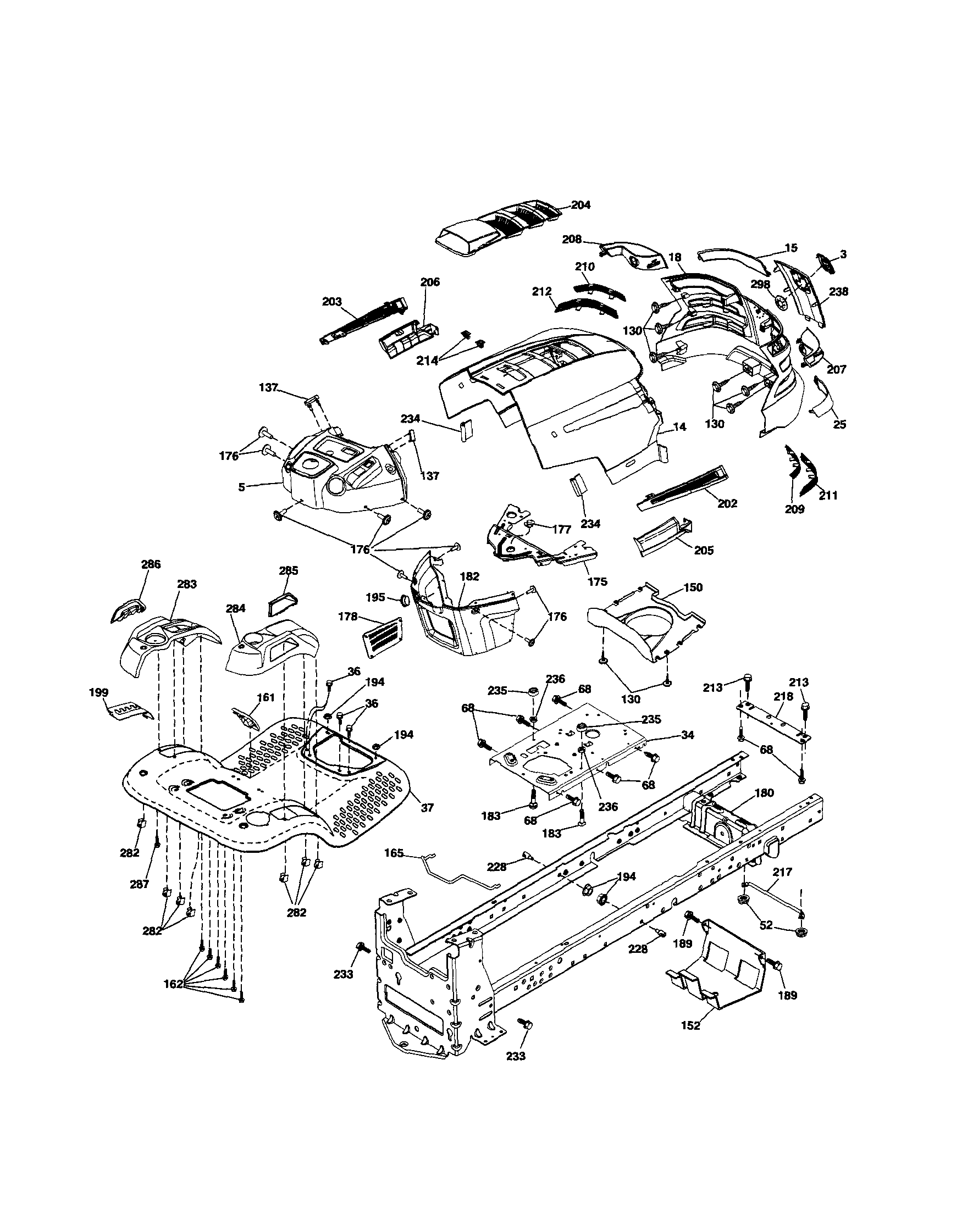 CHASSIS Diagram & Parts List for Model YTH2348 Husqvarna