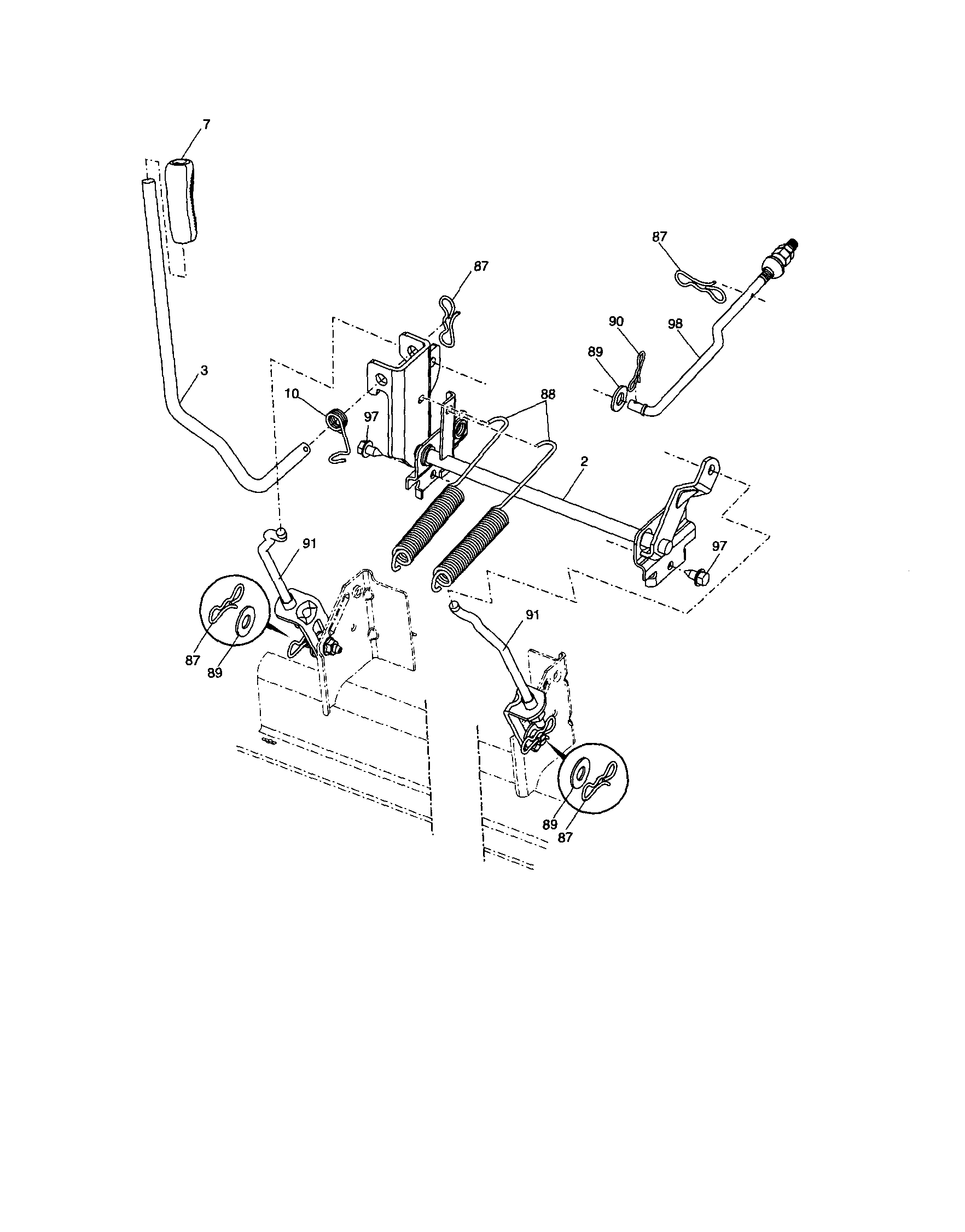 MOWER LIFT Diagram & Parts List for Model YTH2348