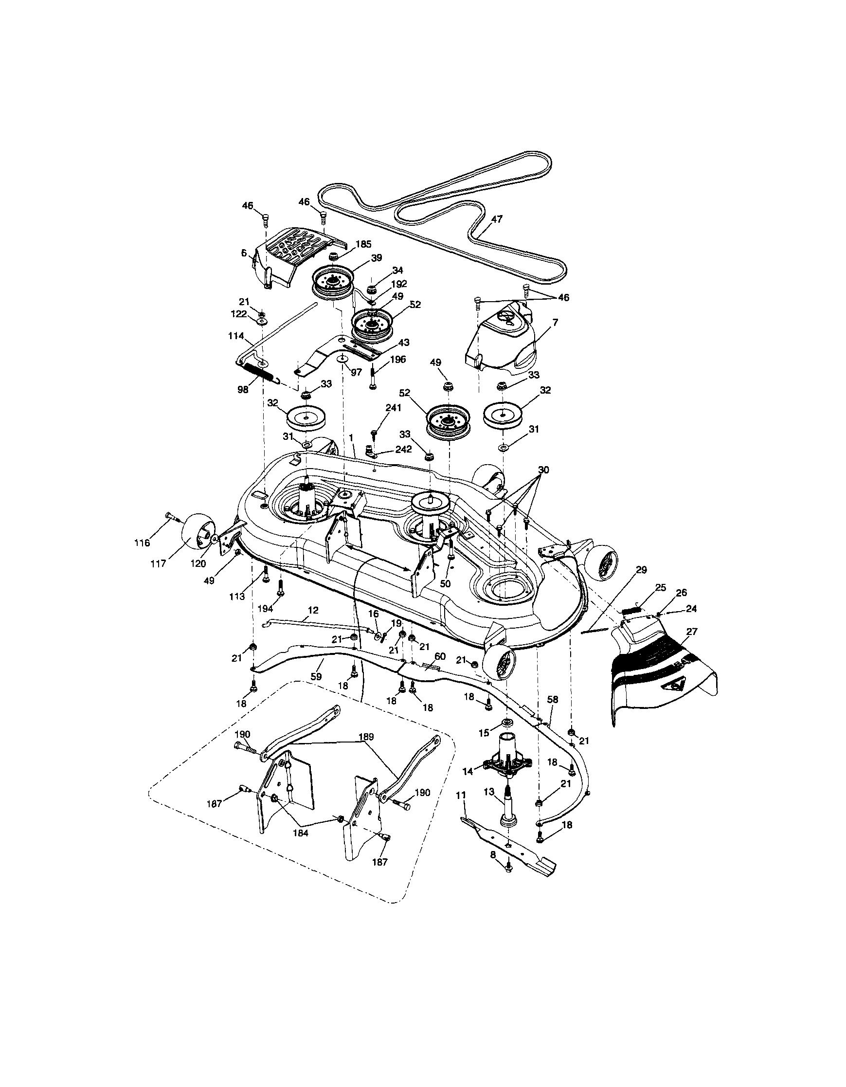 Craftsman Mower Part Riding Lawn Tractor Diagram