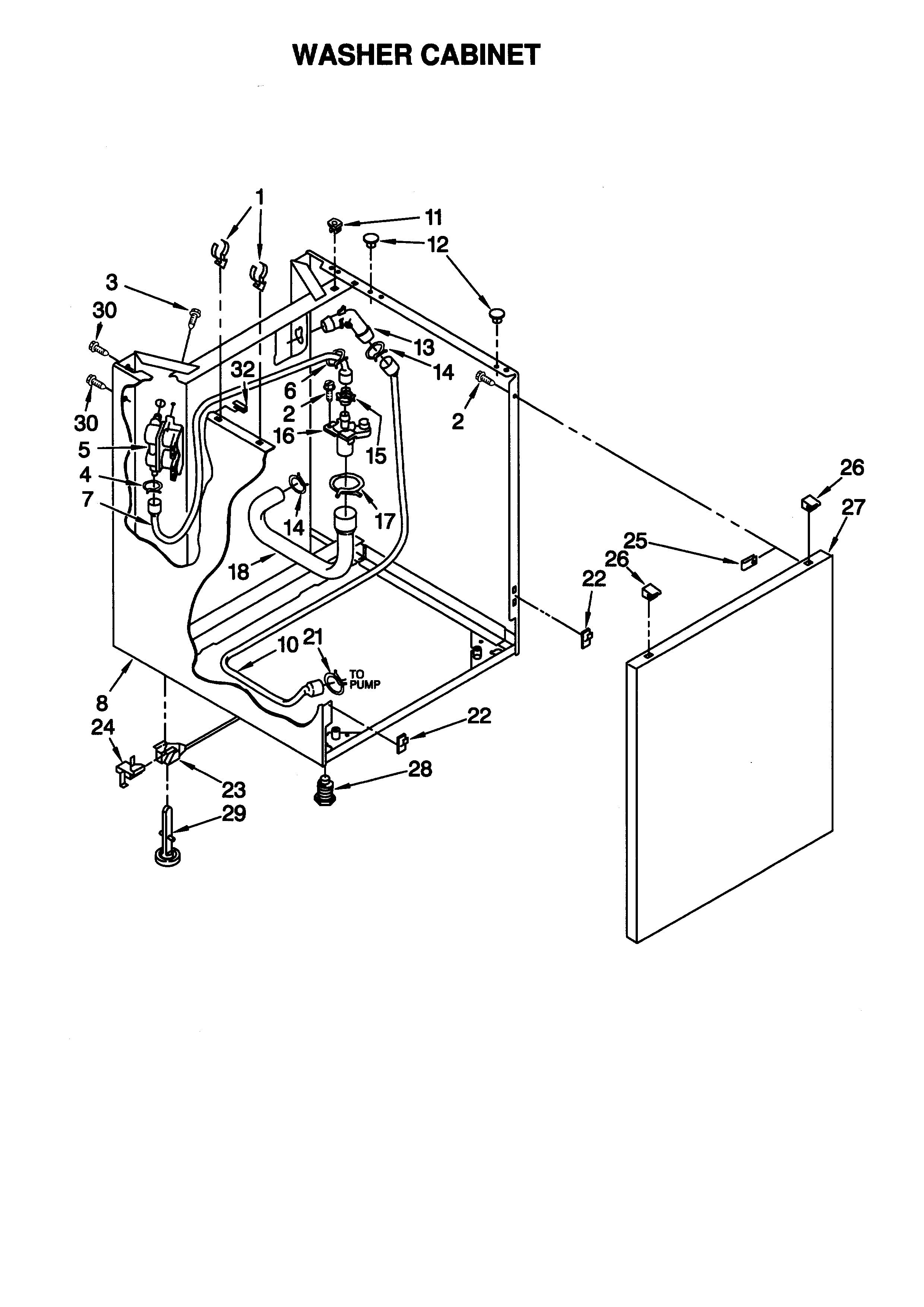 WASHER CABINET Diagram & Parts List for Model 11088754791