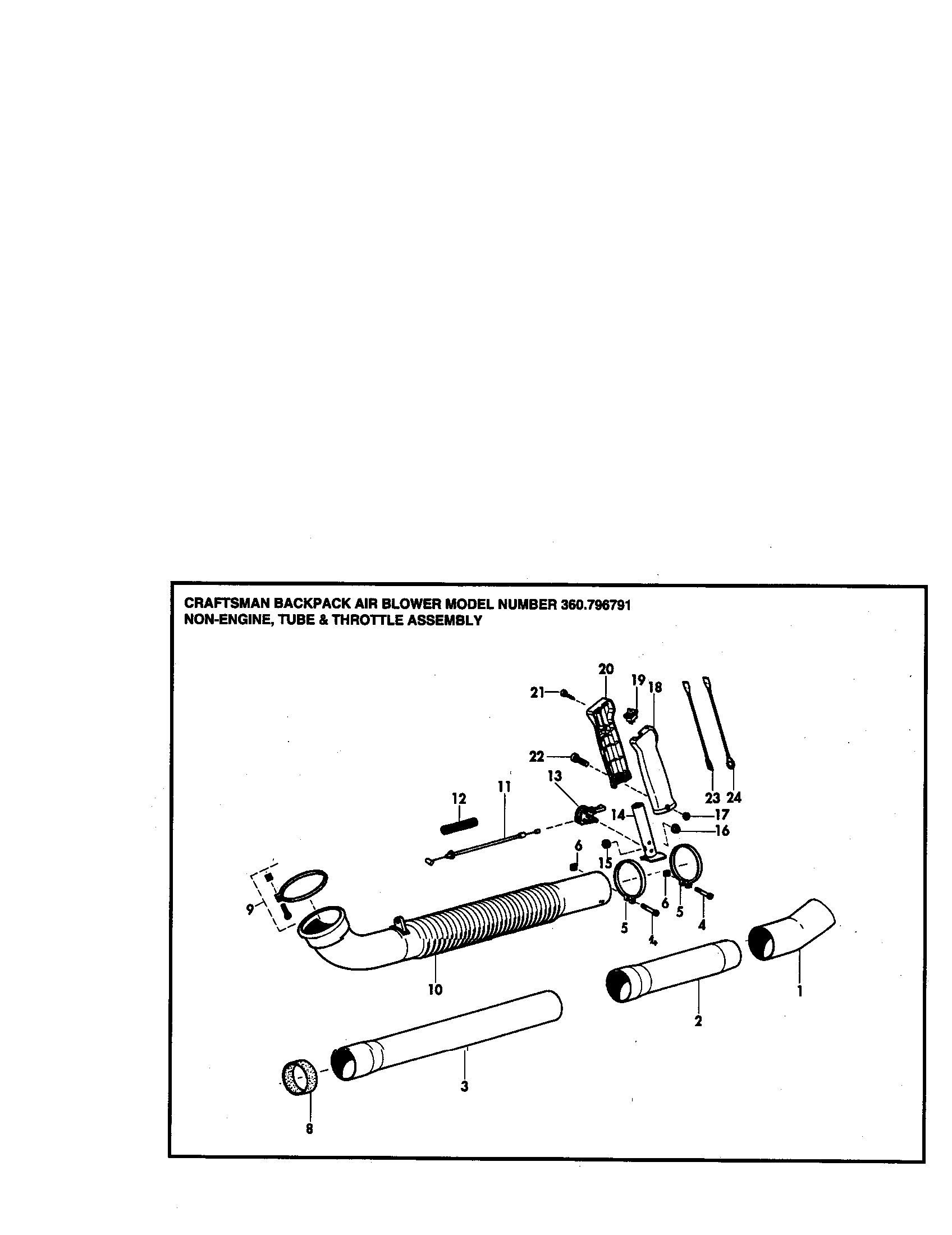 TUBE AND THROTTLE Diagram & Parts List for Model 360796791