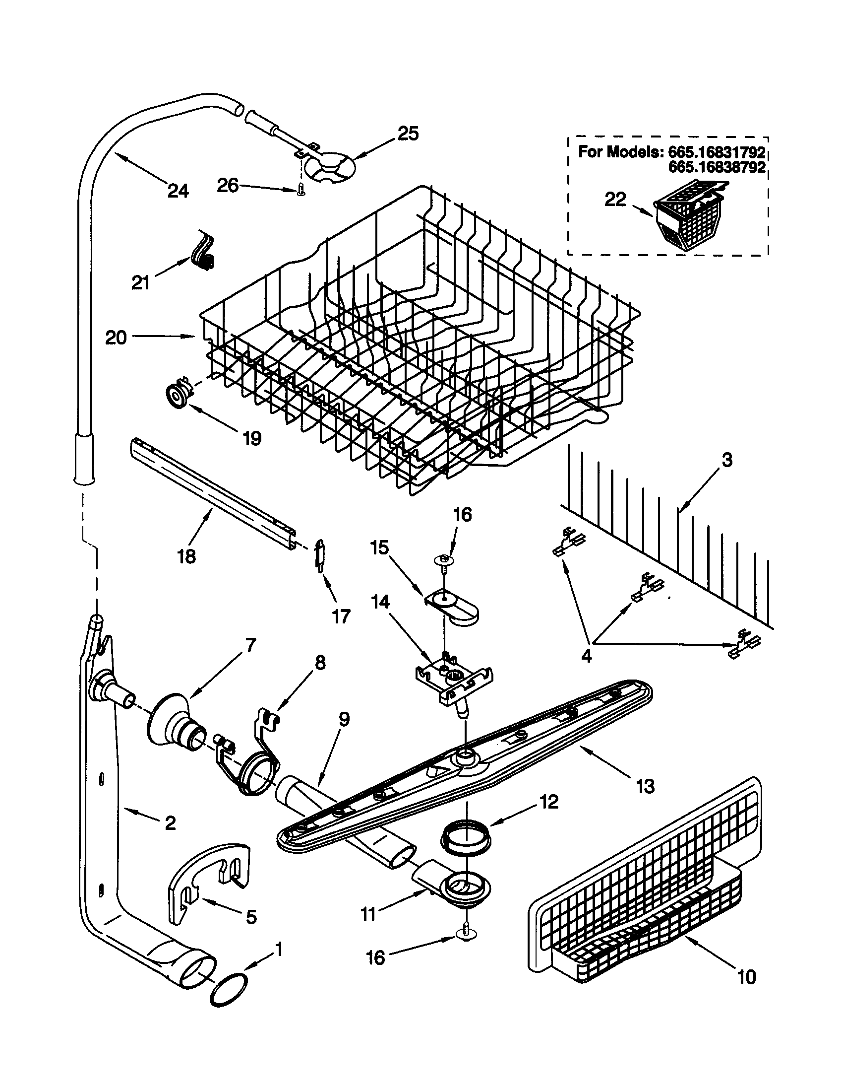 UPPER DISHRACK AND WATER FEED Diagram & Parts List for