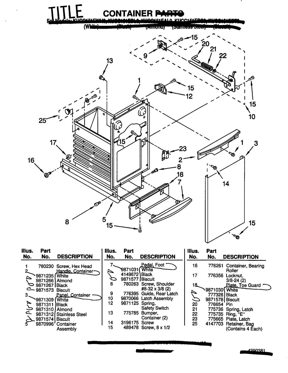 medium resolution of kitchenaid kucc151ebl0 container diagram