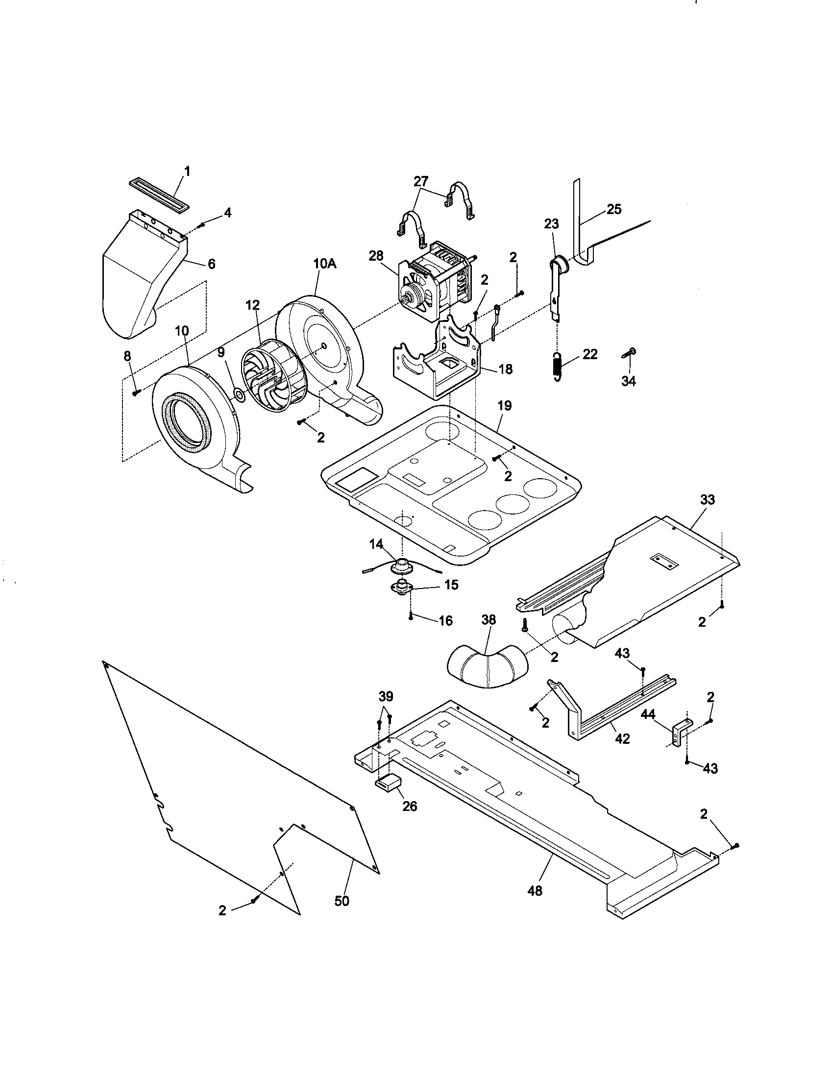 BLOWER AND BASE Diagram & Parts List for Model 41798702891