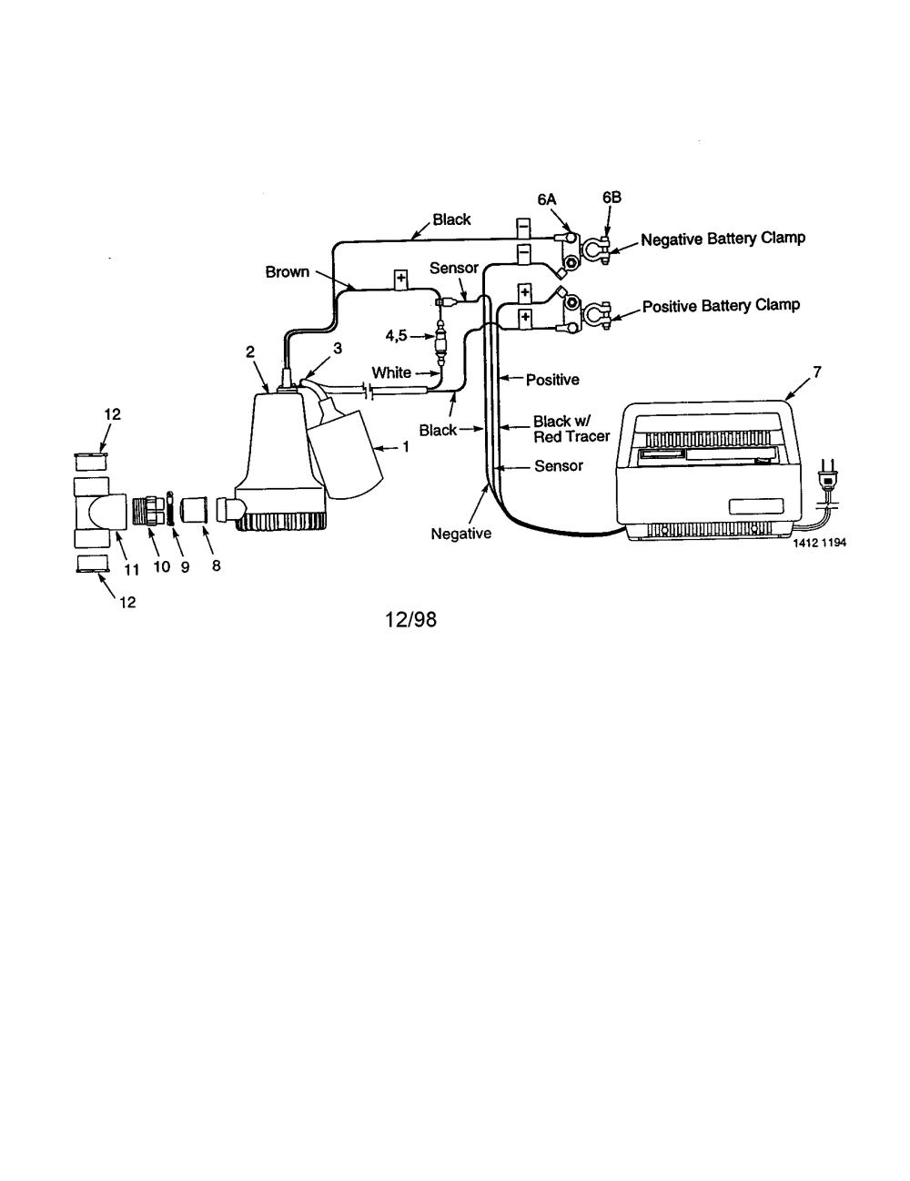 medium resolution of craftsman 572826122 battery backup sump pump diagram