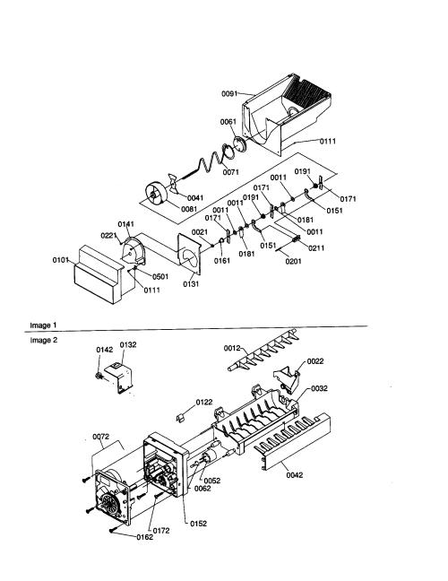 small resolution of amana sxd22s2w p1303503ww ice bucket auger and ice maker diagram