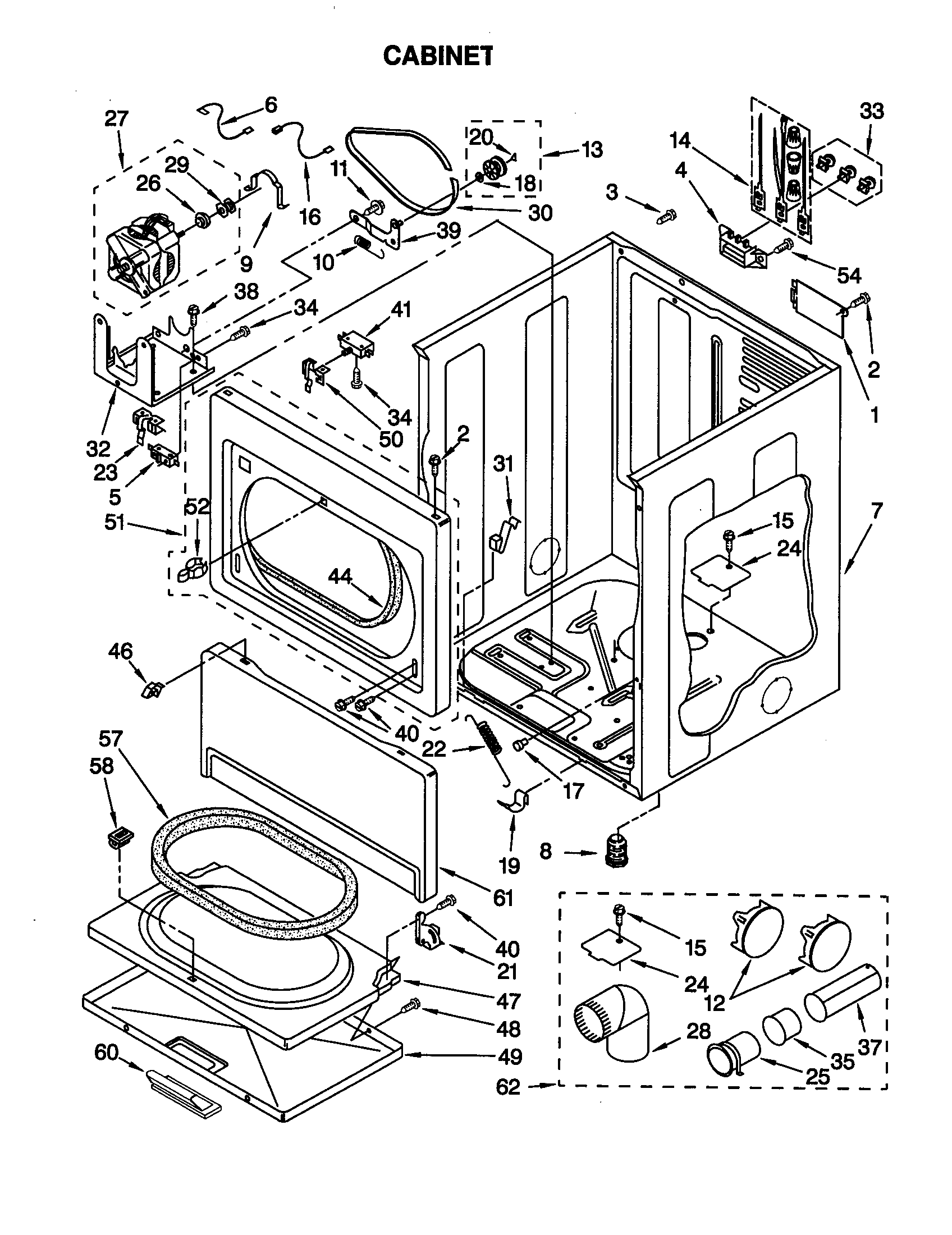 CABINET Diagram & Parts List for Model 11069912990 Kenmore