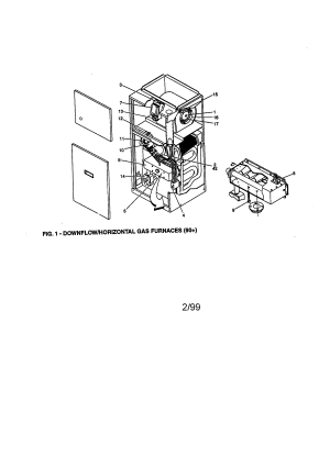 YORK DOWNFLOW GAS FURNACE Parts   Model P3DHB12N05501