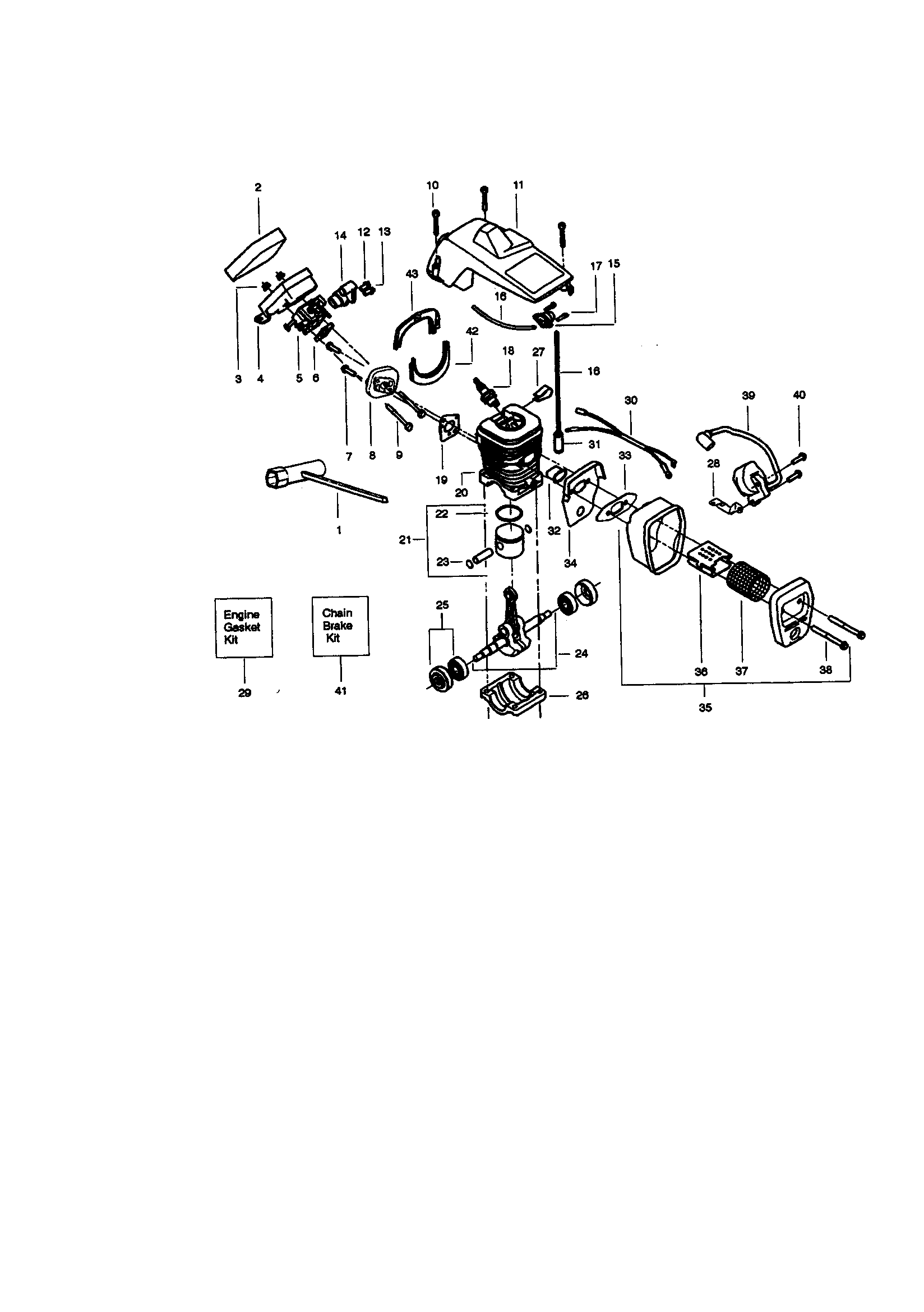 ENGINE Diagram & Parts List for Model 358350160 Craftsman