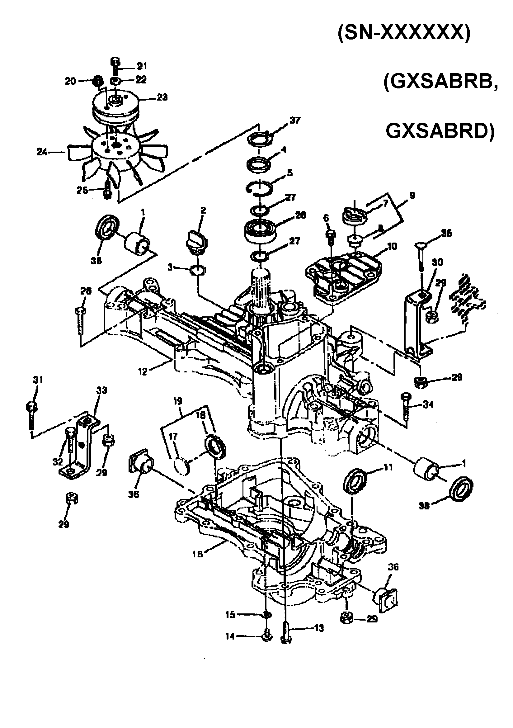 TRANSAXLE CASE (HYDRO) Diagram & Parts List for Model
