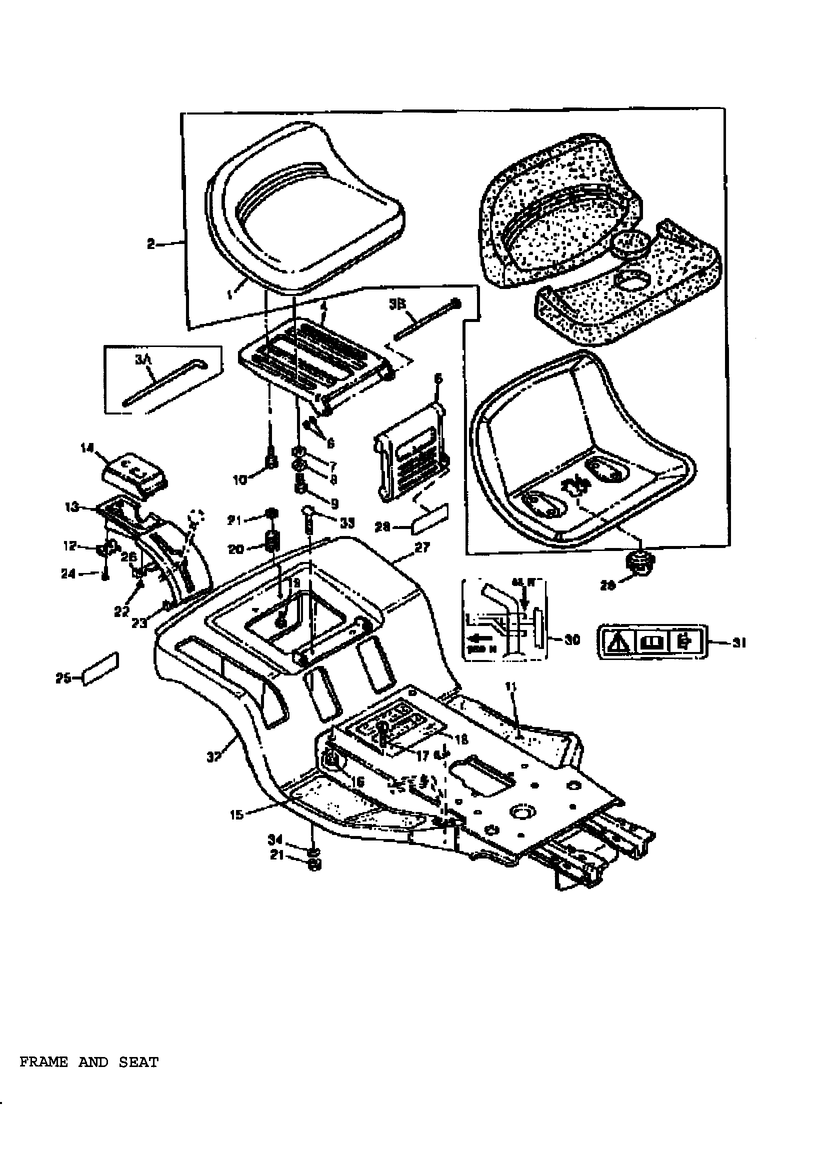 FRAME AND SEAT Diagram & Parts List for Model