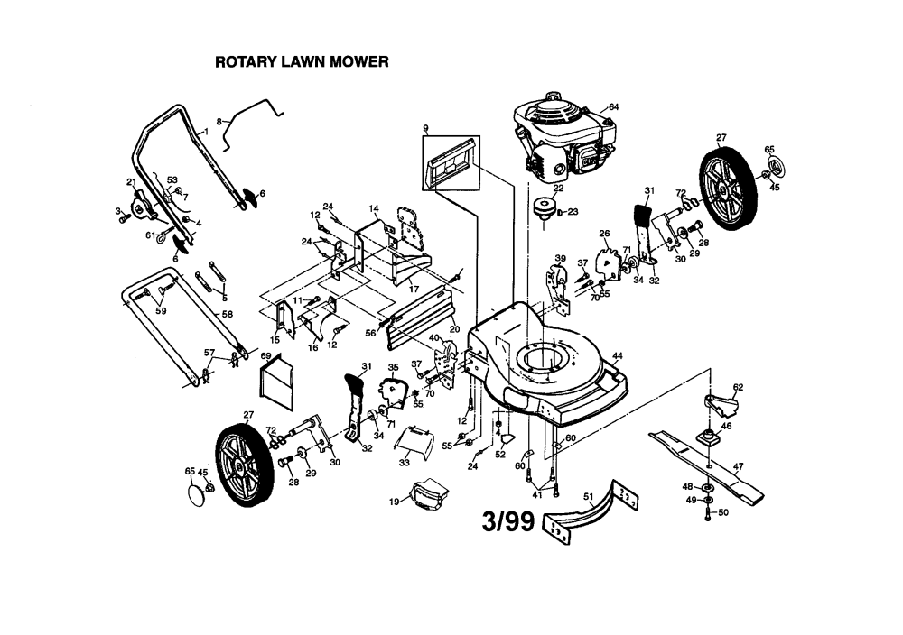 medium resolution of frigidaire model pp55y22cha walk behind lawnmower gas genuine parts honda 217 mower transmission diagram honda