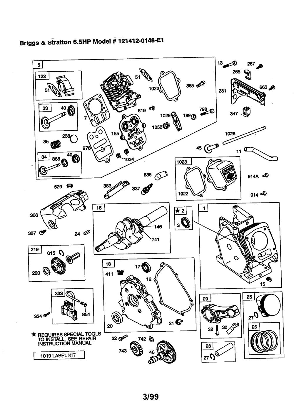 medium resolution of briggs stratton model 121412 0148 e1 engine genuine parts rh searspartsdirect com 17 hp briggs and