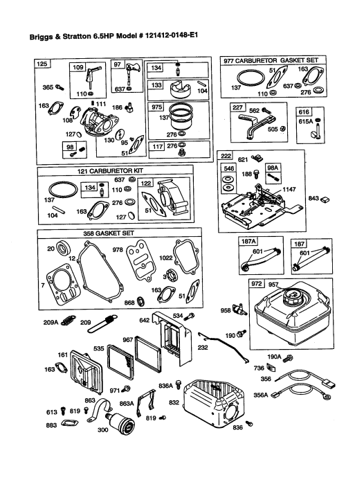 small resolution of briggs stratton 121412 0148 e1 carburetor air filter and fuel tank diagram