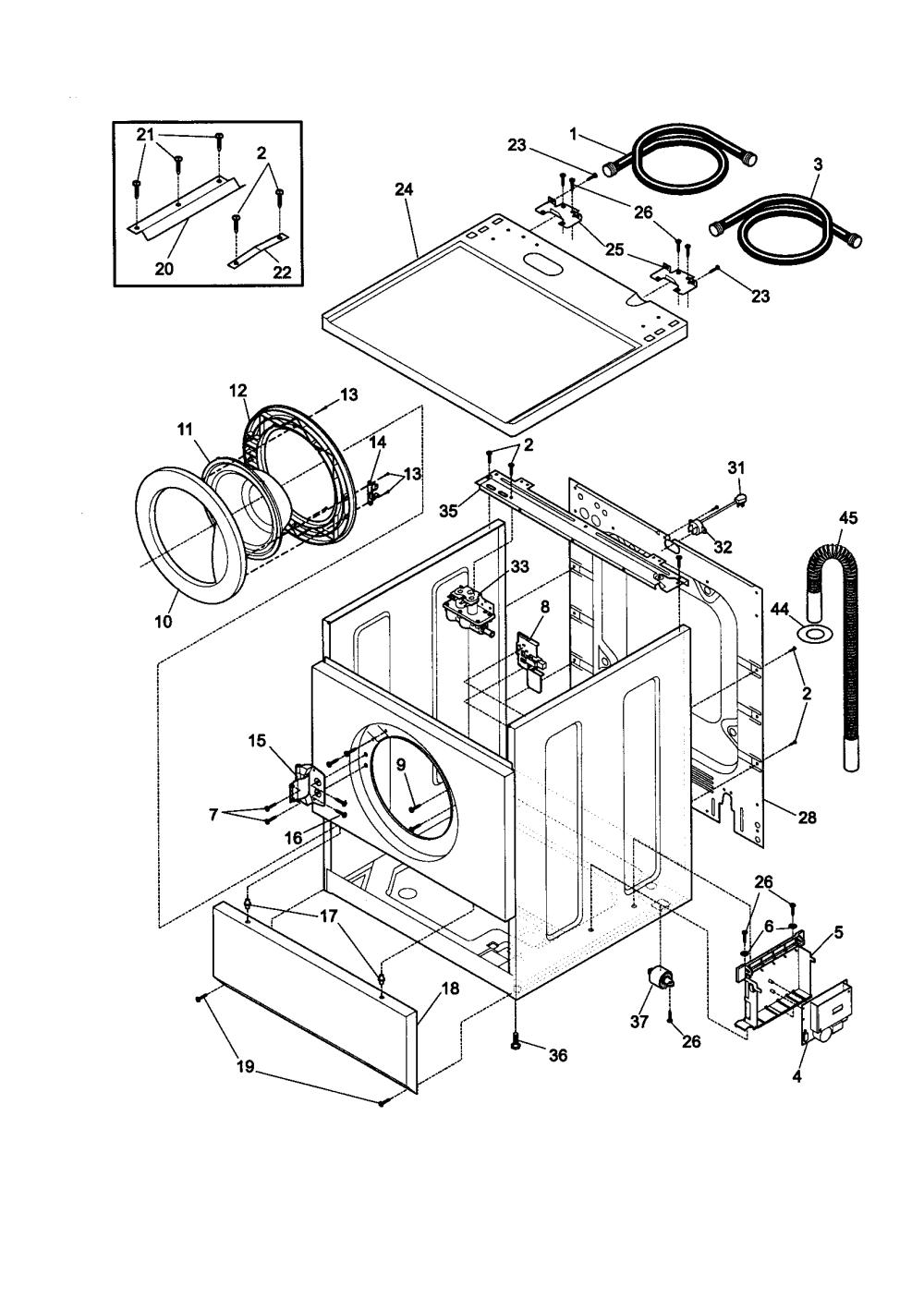 medium resolution of kenmore 41739022890 cabinet door and top diagram