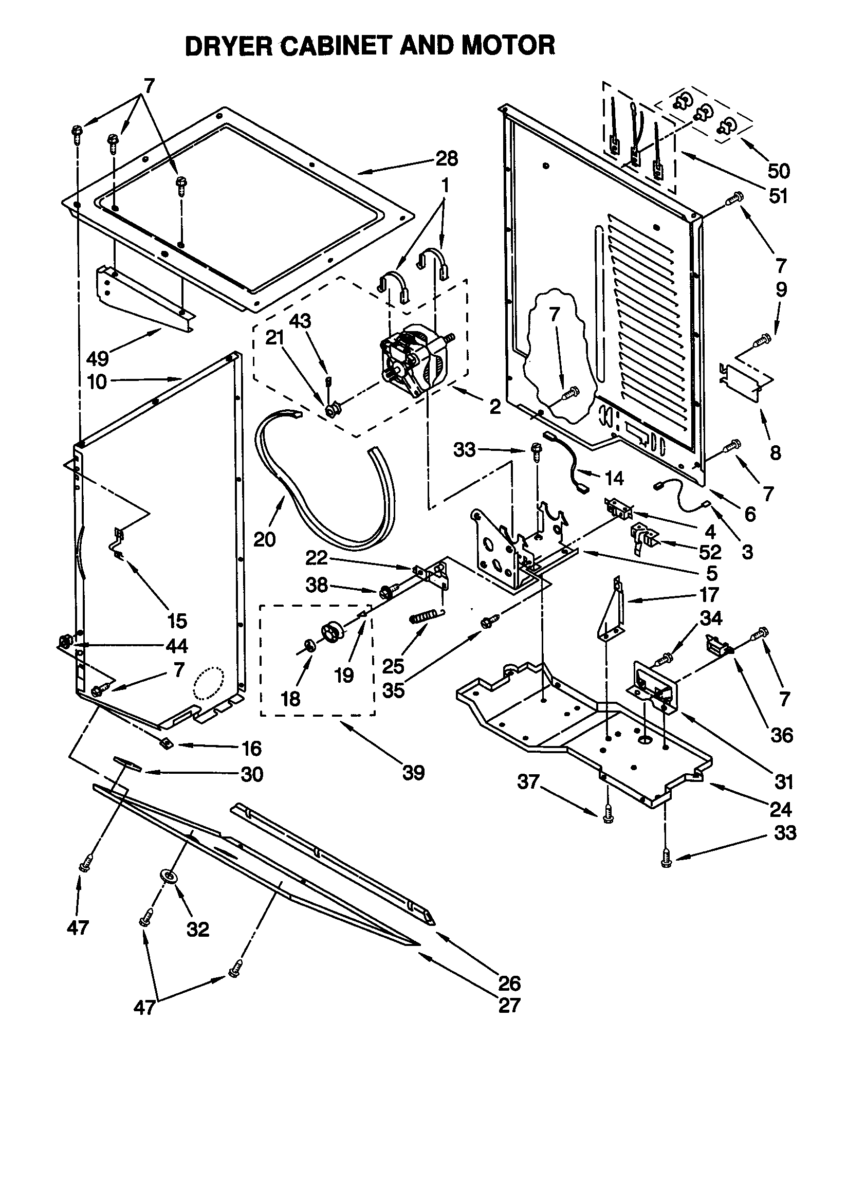 DRYER CABINET AND MOTOR Diagram & Parts List for Model