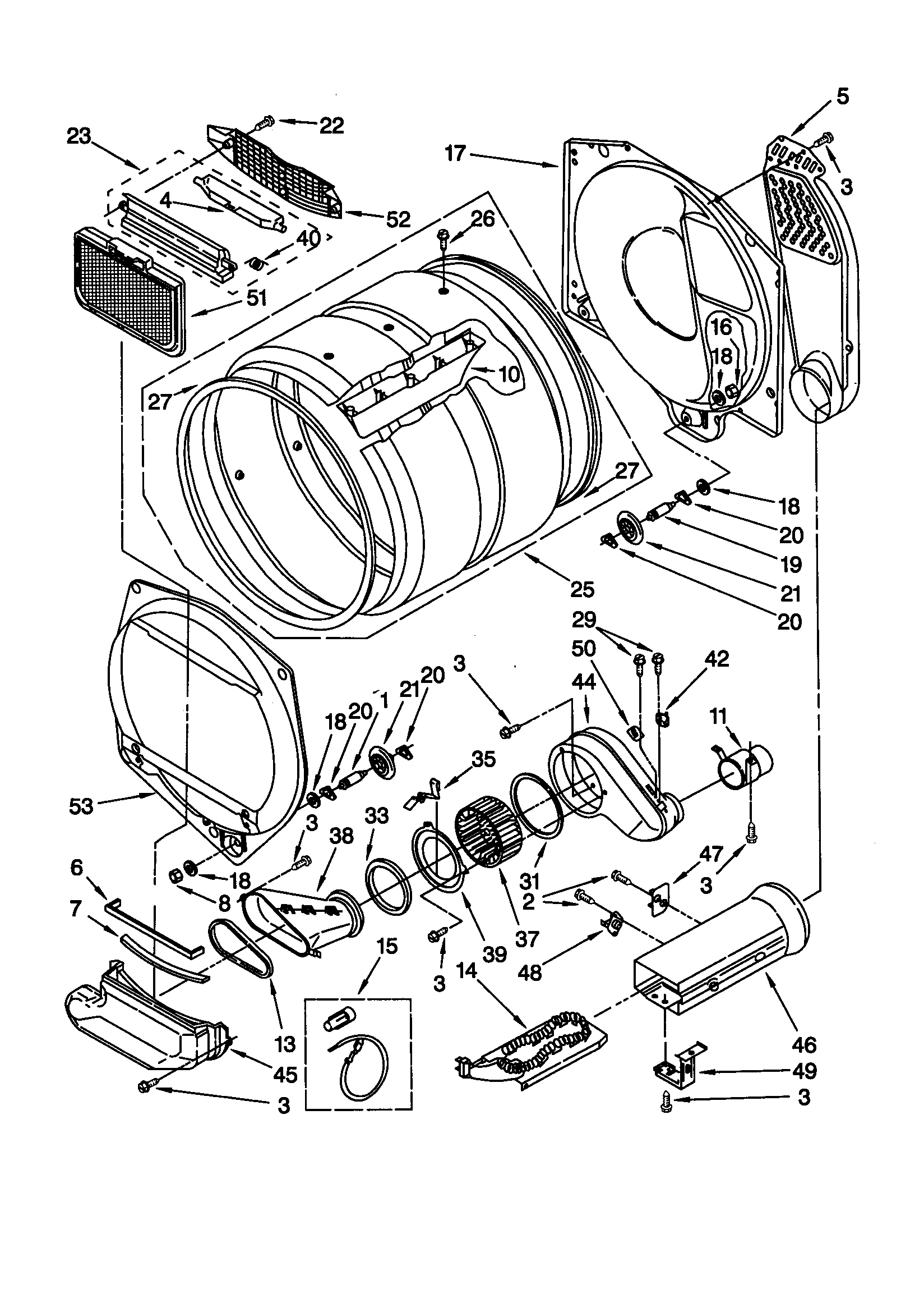 DRYER BULKHEAD Diagram & Parts List for Model lte6234dq1