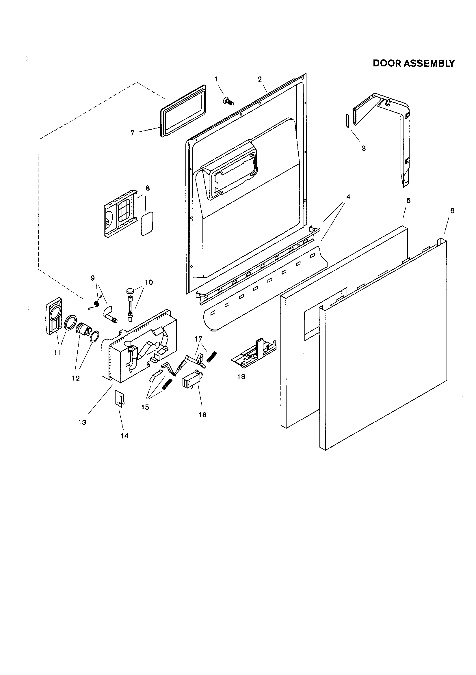 DOOR ASSEMBLY Diagram & Parts List for Model shu4302 Bosch